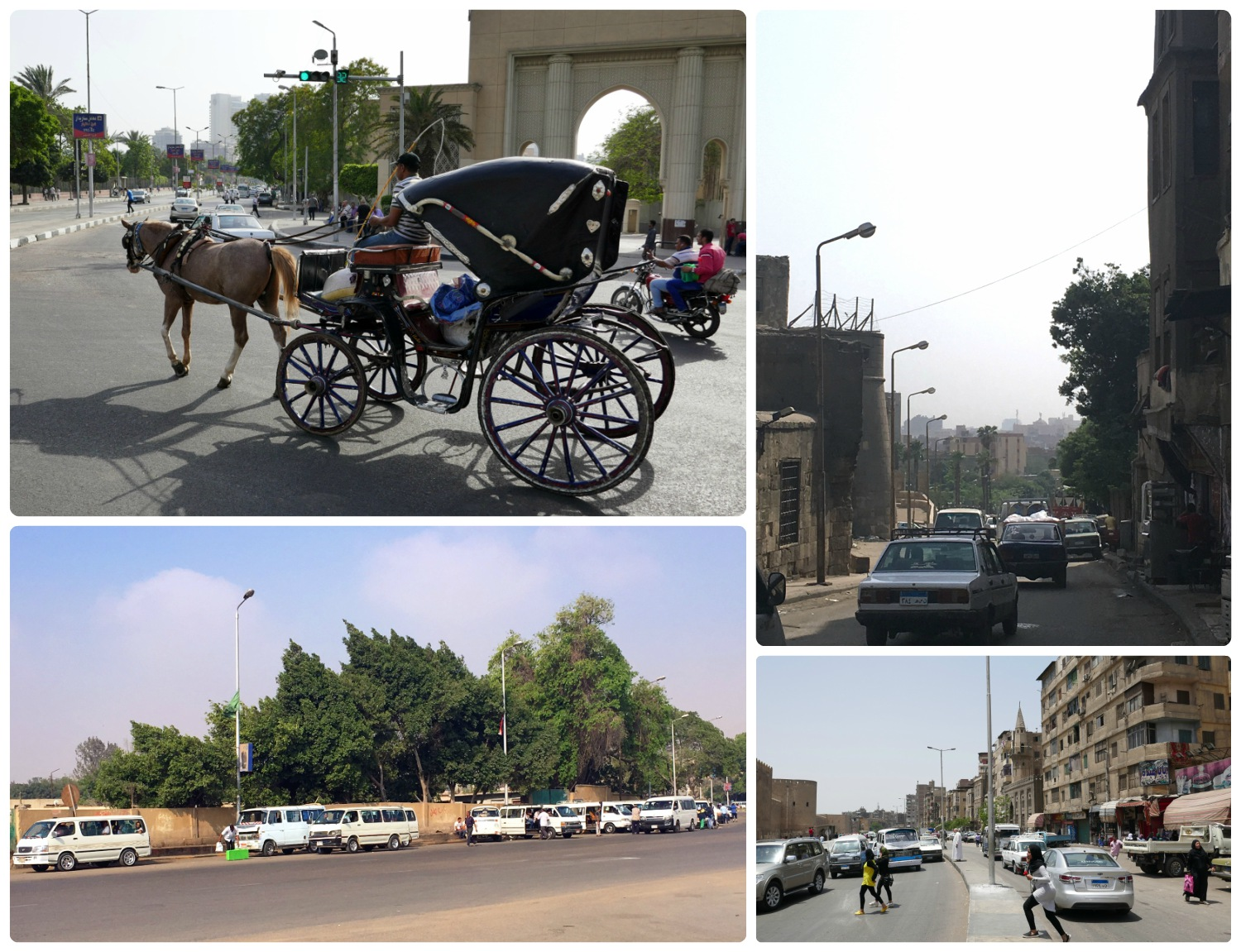 Clockwise (from the top): A horse and carriage for hire, a view down a busy street in Cairo, traffic was always heavy in city center, all the white vans are taxis.