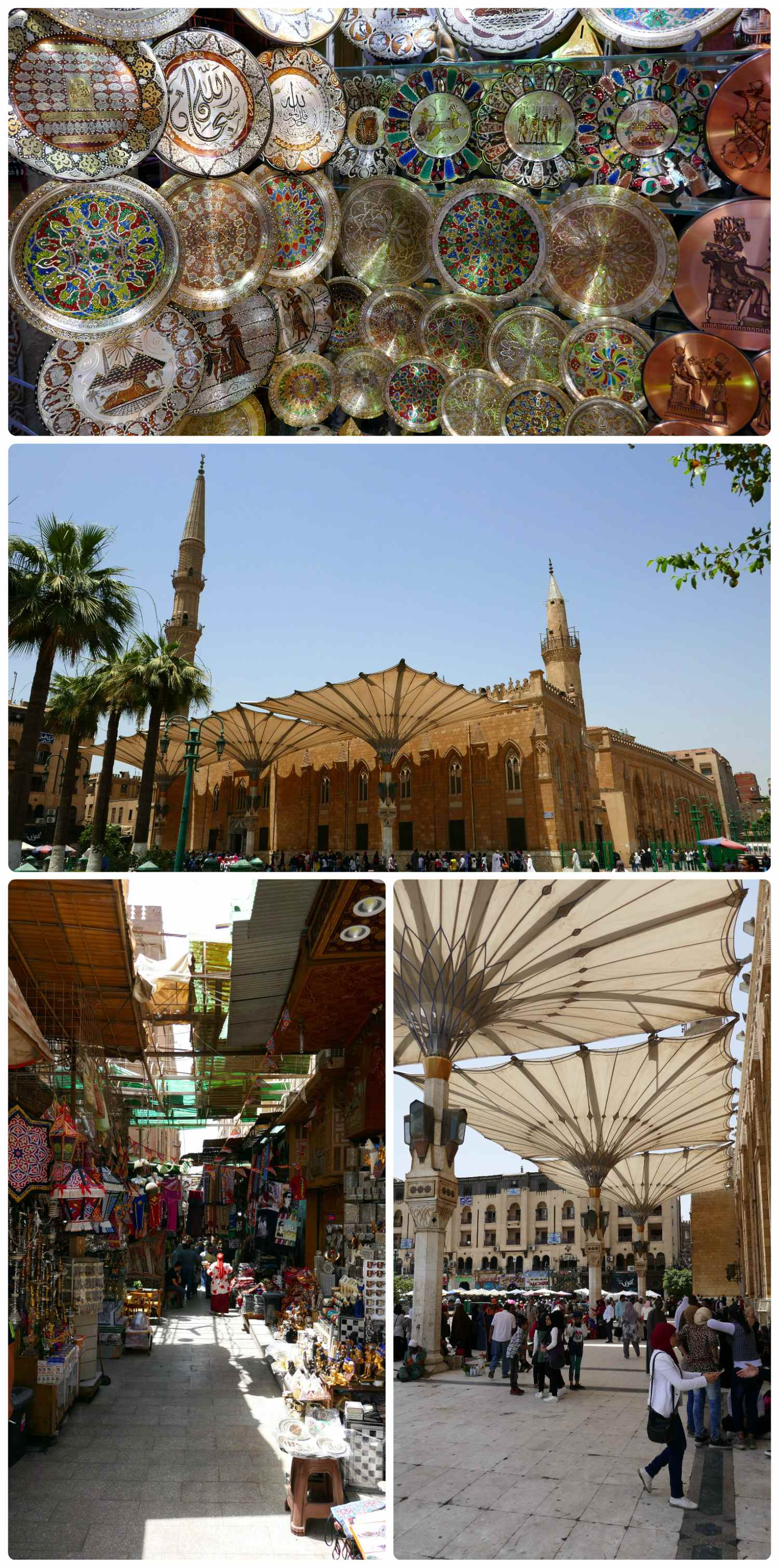 Top to bottom and left to right: Inside a shop at the Khan el-Khalili Bazaar, to the side of the bazaar is the Al-Hussein Mosque, a view walking into the Khan el-Khalili Bazaar, the covered courtyard next to the mosque - the entrance to the bazaar is on the far side and to the right in the photograph.