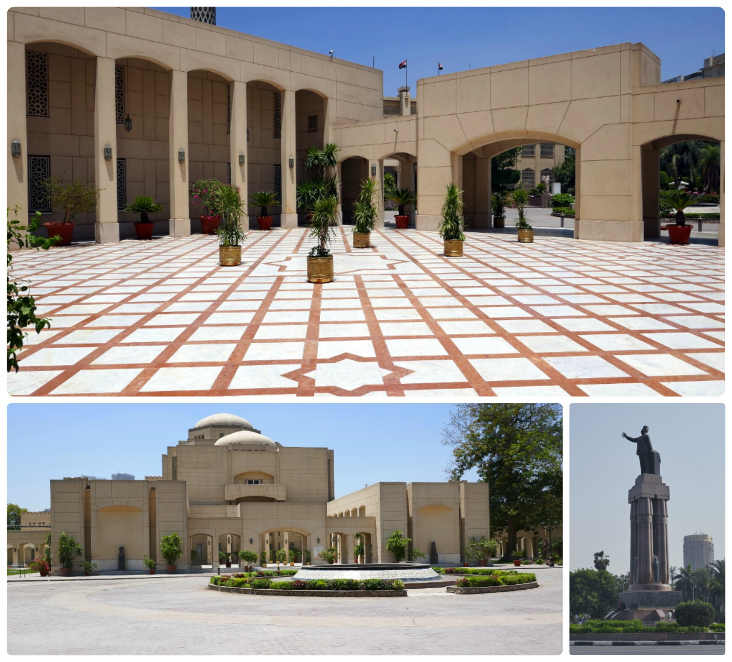 Clockwise (from the top): Cairo Opera House courtyard, the Saad Zaghloud Statue in Opera Square - the roundabout in front of the Cairo Opera House and the Museum of Modern Egyptian Art complex, the exterior of the Cairo Opera House.