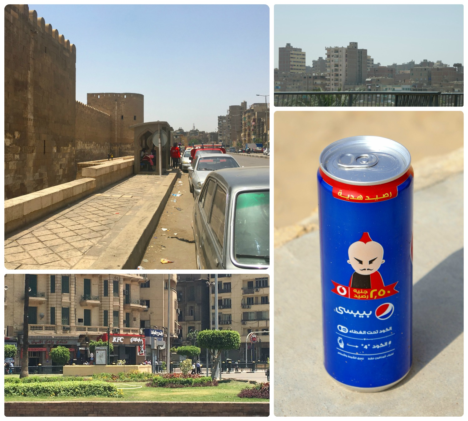 Driving around Cairo is full of sights that are very different from our home. From the bus stops (top left) to the fast food restaurant signs (bottom right) and product labeling in Arabic (bottom right).