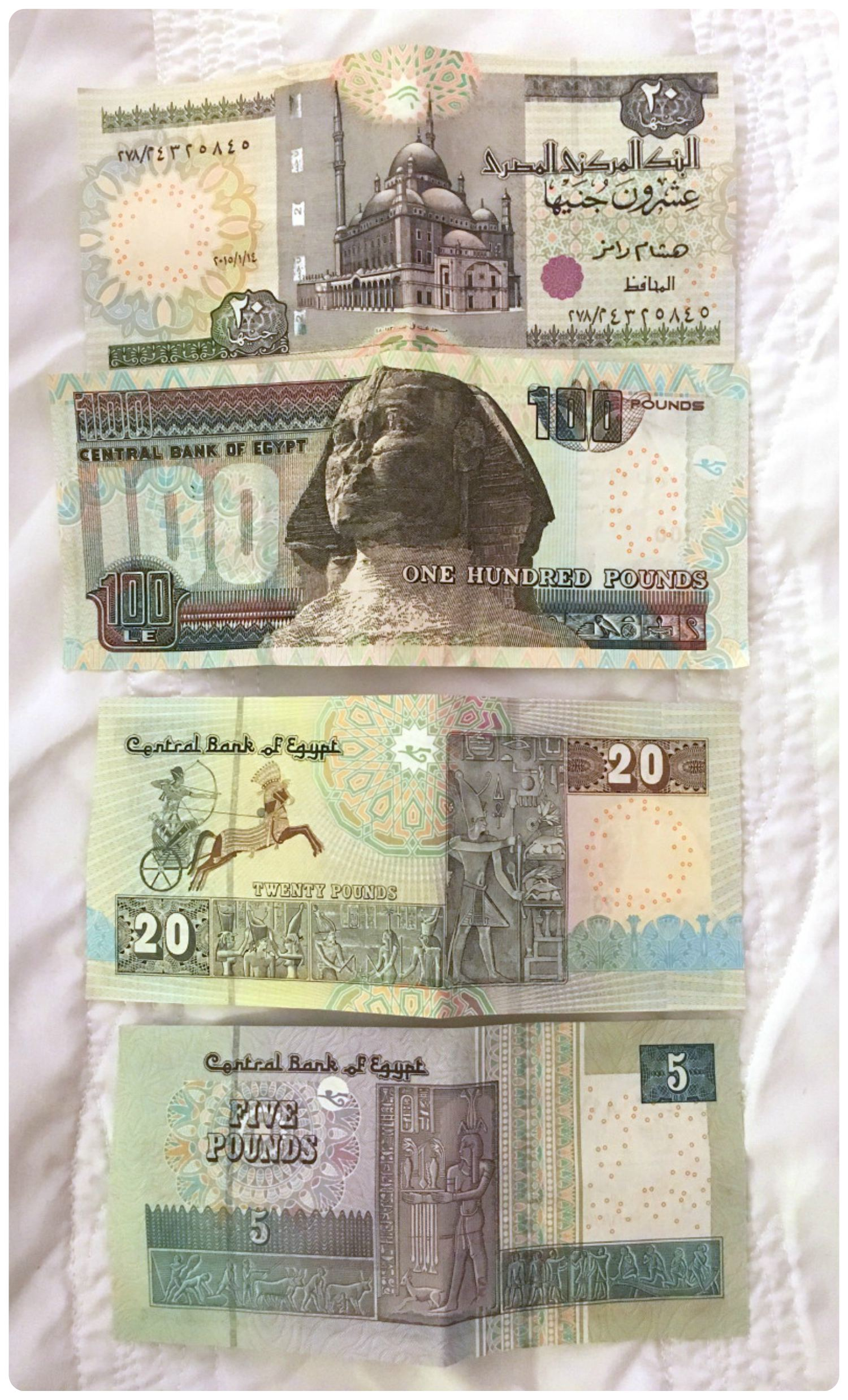 Egyptian currency is in Egyptian Pounds. It's always a good idea to be familiar with the bank notes, so you're less likely to get or give the incorrect amount when making purchases.