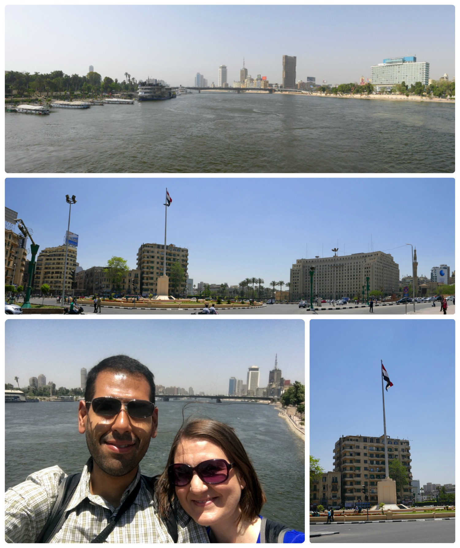 Clockwise (from the top): View of the Nile River from the Kasr El Nil Bridge, a panoramic view of Tahrir Square, the Egyptian flag in the center of Tahrir square, us on the bridge over the Nile River.