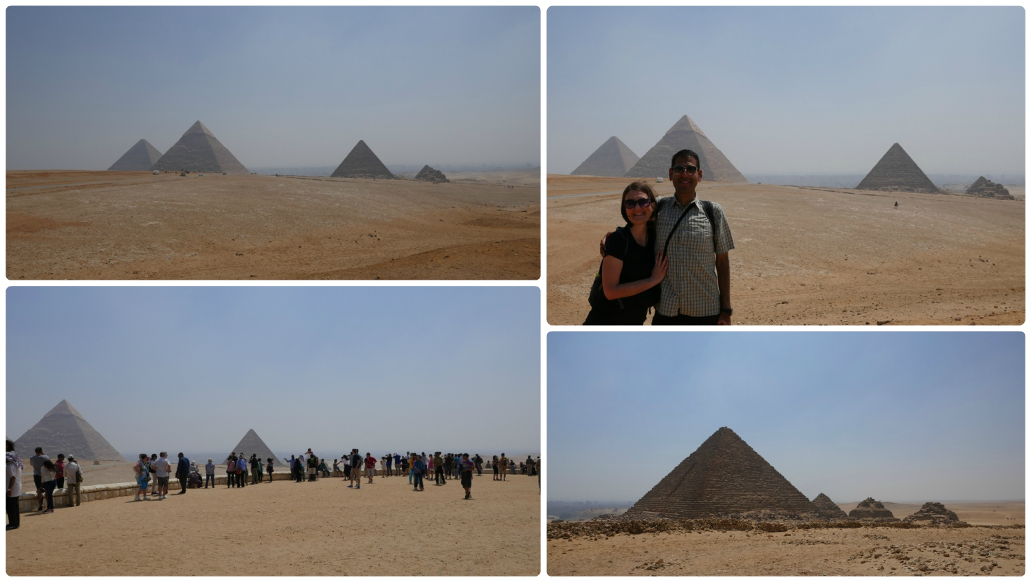 Clockwise (from the top): The iconic shot of the pyramids lined up, us in front of the pyramids,Pyramid of Mankaure and the three smaller Queen's Pyramids, the outlook point with visitors taking pictures of and with the pyramids.
