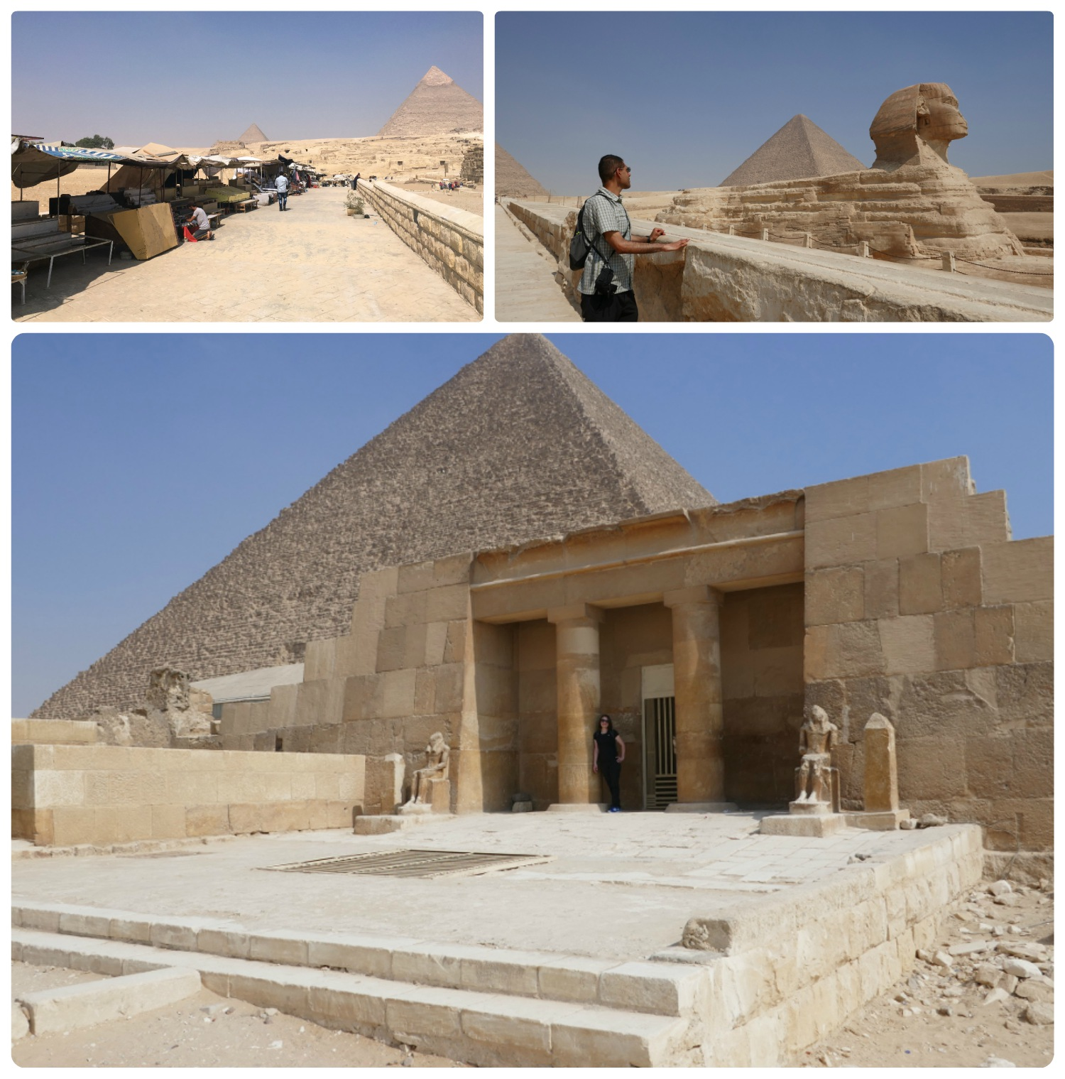 Clockwise (from the top): On the way to the Great Sphinx are rows of vendor stands, Sergio looking at the Sphinx with the Great Pyramid behind it, Shannon at the Eastern Cemetery.