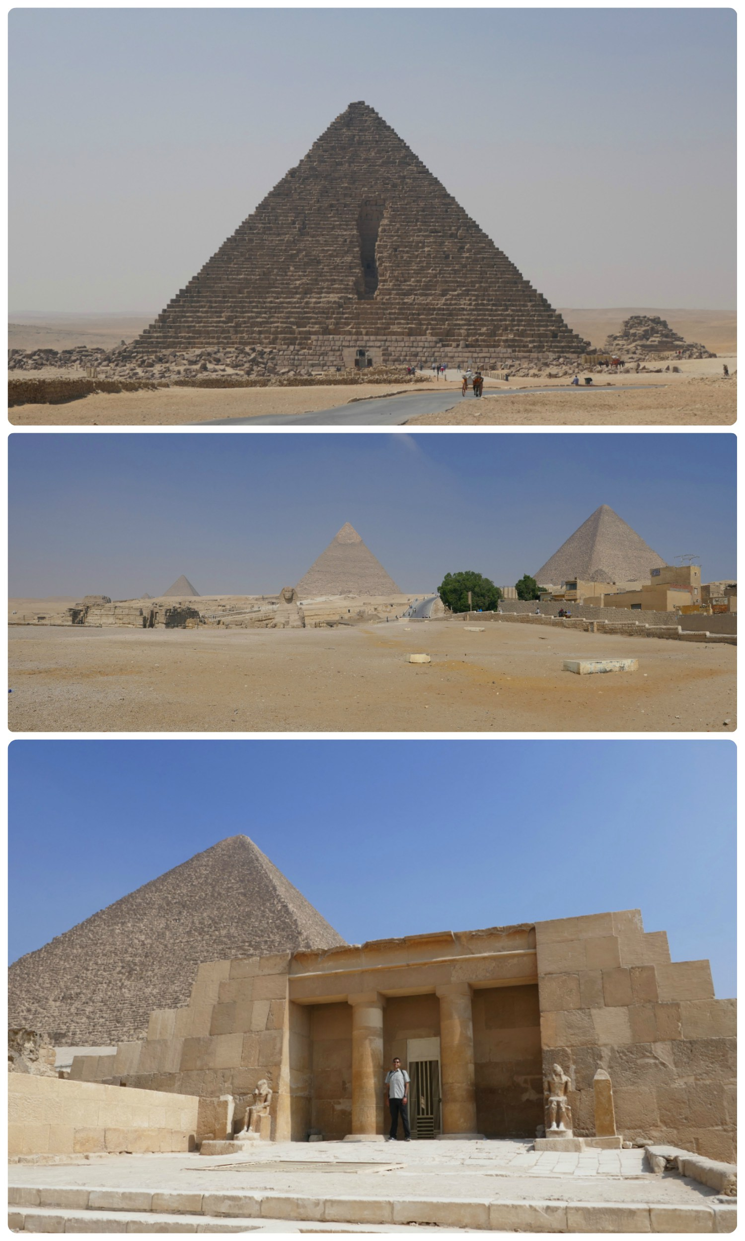 Clockwise (from the top):Menkaure's Pyramid, a panorama of the complex from the front of the Sphinx (opposite side of the popular outlook everyone visits), Sergio at the Eastern Cemetery.