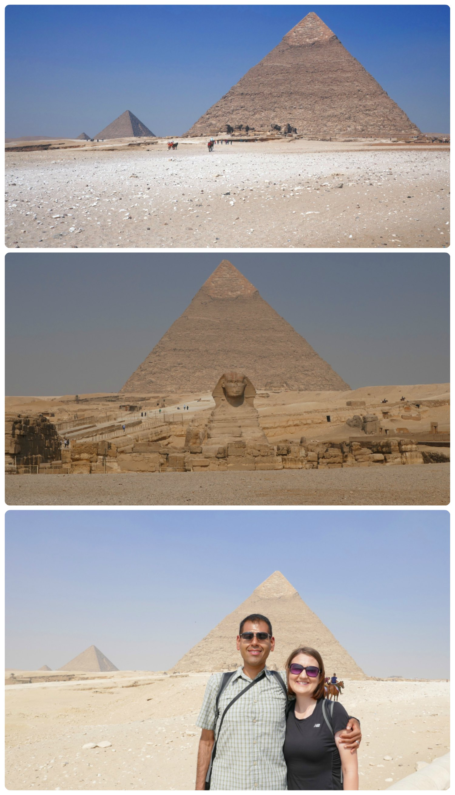 Top to bottom: Pyramid of Khafre with Menkaure's Pyramid to the left side of it, Pyramid of Khafre towering over the Great Sphinx of Giza, us in front of the Pyramid of Khafre.