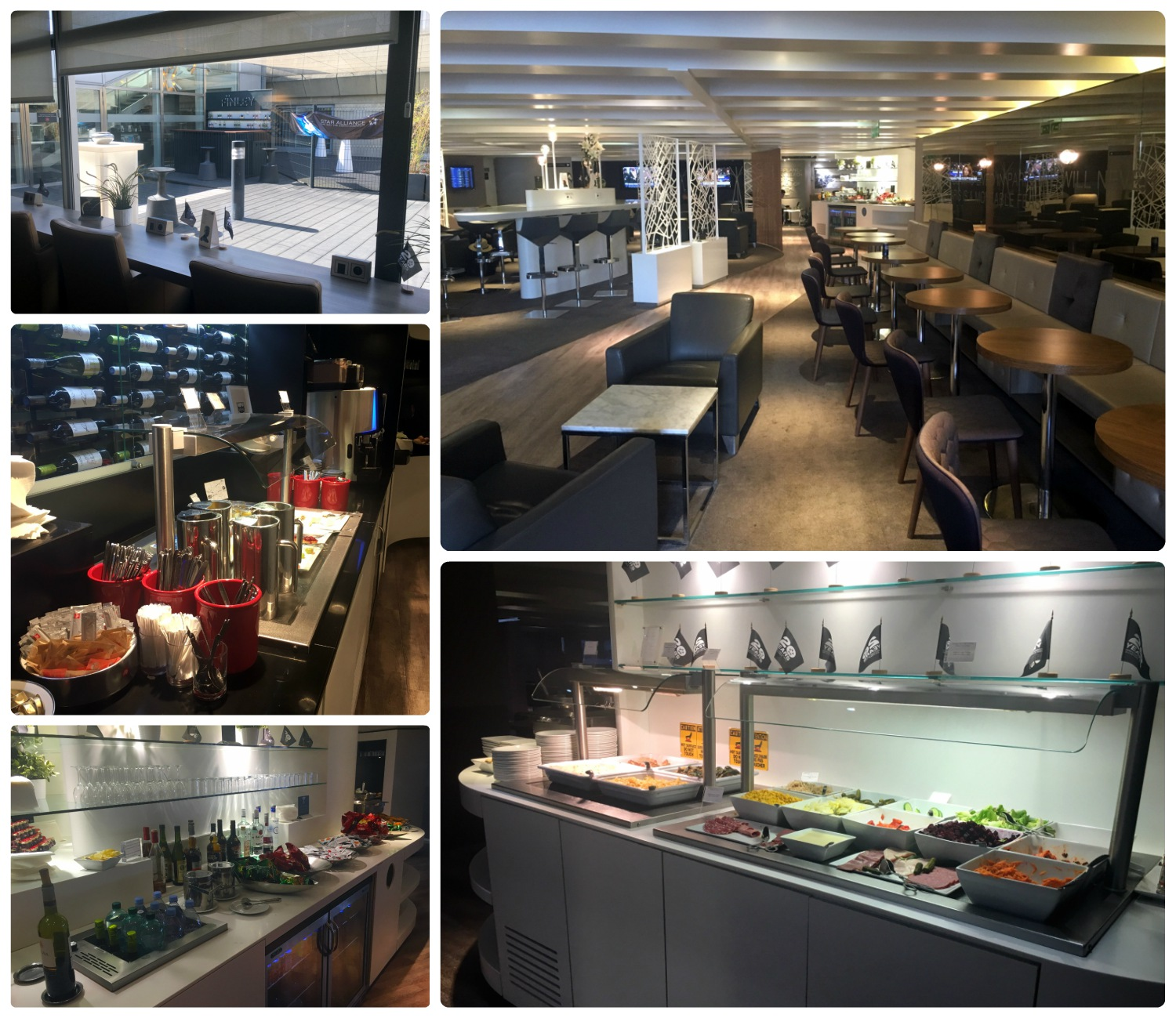 All images were taken at the Star Alliance Lounge at the Charles de Gaulle Airport (CDG). Clockwise (from the top): View into the lounge patio area, view of the lounge and various seating, array of food - including hot dishes, snack and bar area, drink and dessert area.