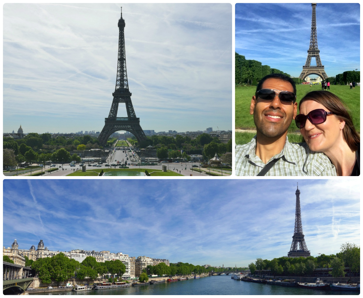 Clockwise (from the top): View of the Eiffel Tower from the popular Esplanade du Trocadéro, us at Parc du Champ de Mars, a panoramic view from Pont de Bir-Hakeim.