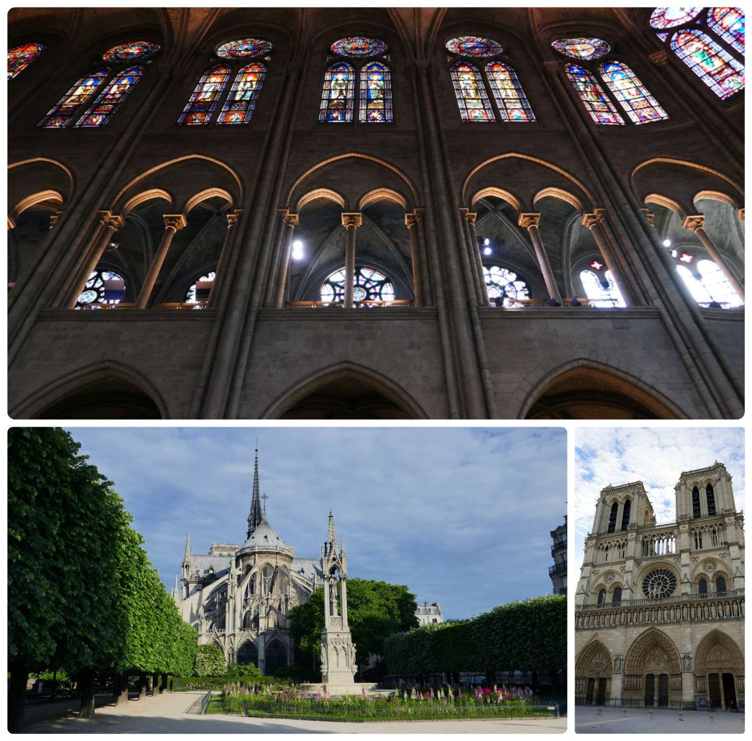 Clockwise (from the top): The magnificent archways and stained glass in Notre-Dame Cathedral that left us looking up as we moved through the church, the front exterior of the cathedral, the rear of the cathedral taken from Square Jean XXIII.