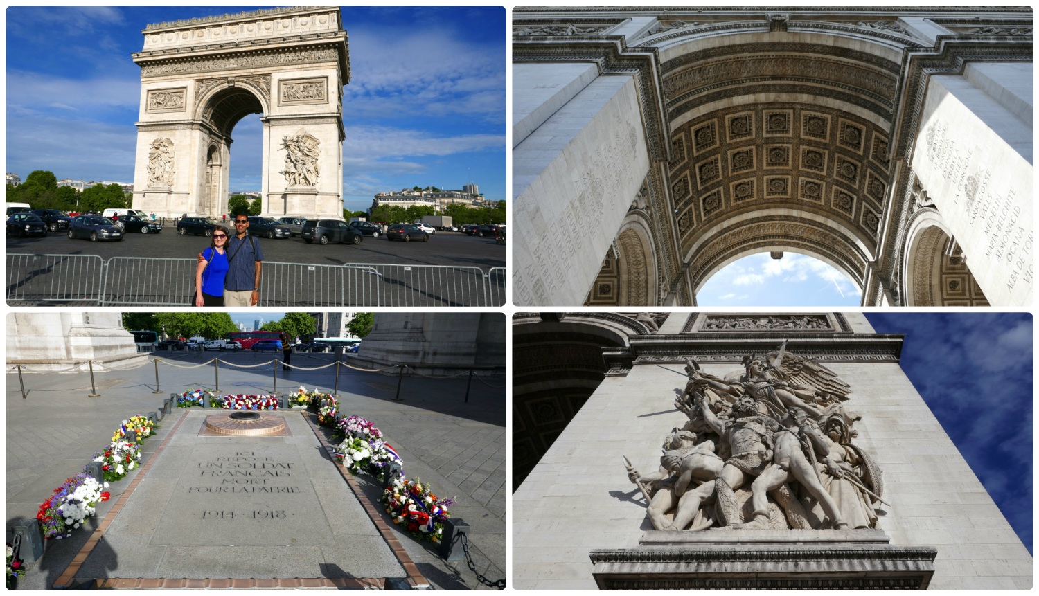 Clockwise (from the top): Us in front of the Arc de Triomphe, the center of the archway, one of the sculptures on the arch, the Tomb of the Unknown Soldier and eternal flame.