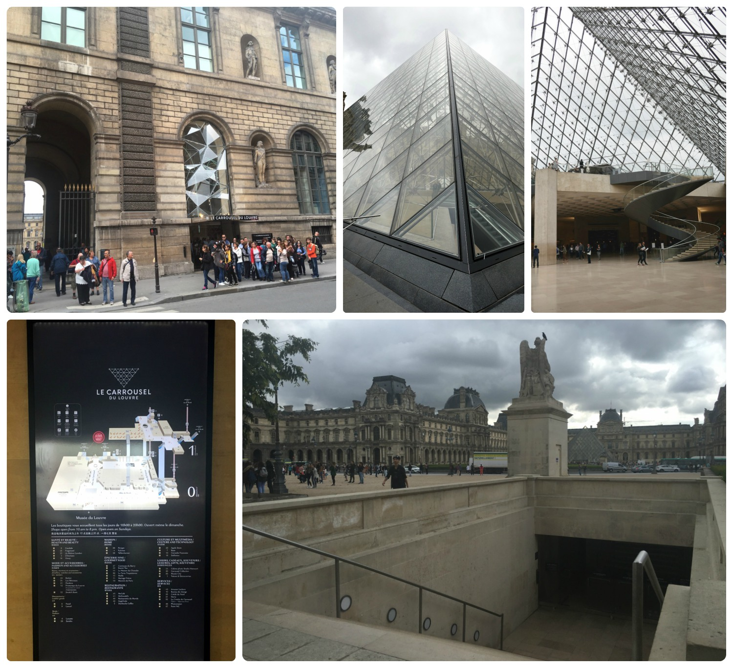 Clockwise (from the top): Taken from the Palais-Royal/Musée de Louvre metro station - the large archway leads to the courtyard where the main entrance is - but the smaller doorway to the right is an alternate entrance to 'Le Carrrousel', looking into the pyramid where you can see the escalator that takes visitors down to the main lobby, the main lobby of The Louvre under the glass pyramid, the stairway on the side of the Arc du Carrousel that leads to the lesser known entrance, a map of the Le Carrousel.