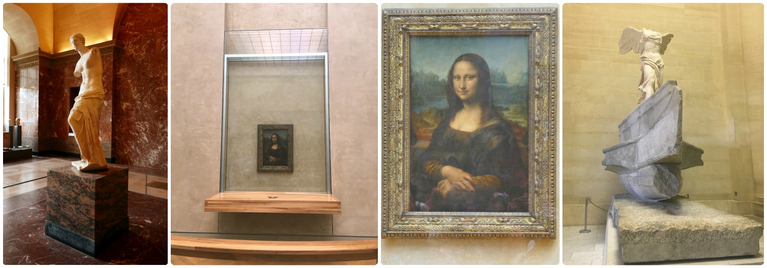 Left to right:  Venus de Milo ,  The Mona Lisa  in it's case taken from as close as visitors can get, a larger image of  The Mona Lisa ,  Winged Victory of Samothrace .