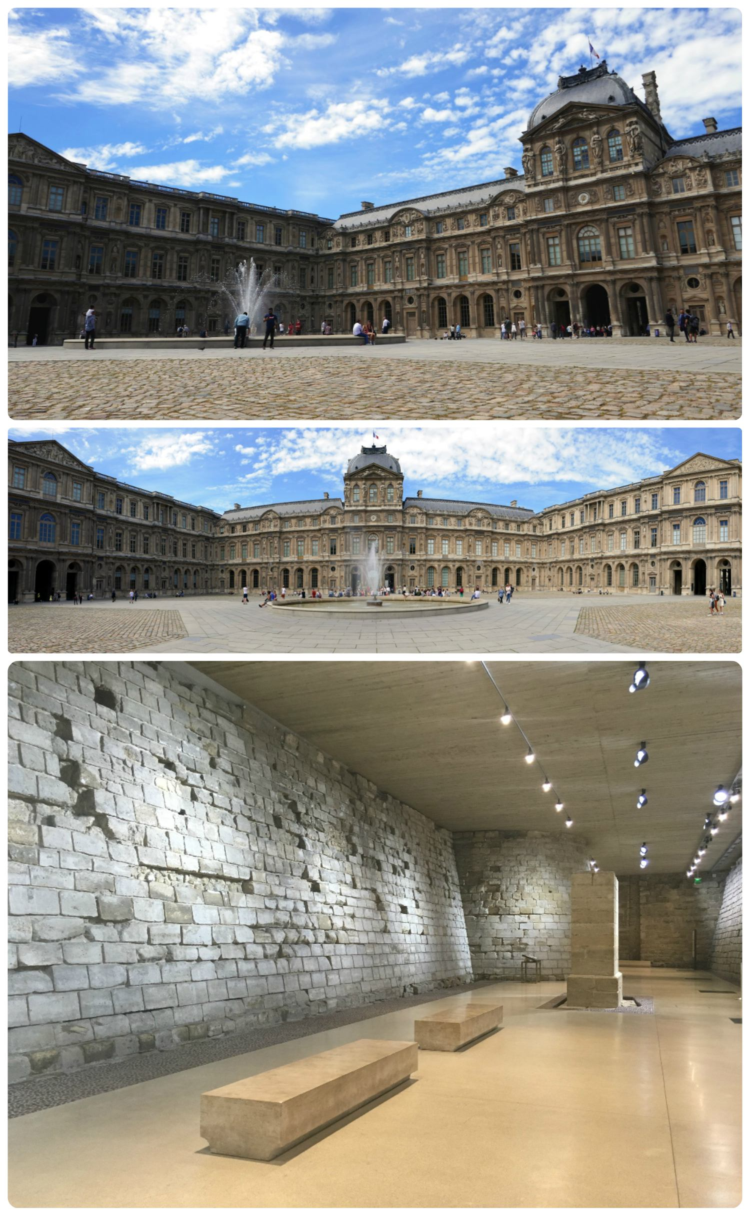 The Louvre is a large building - if you're in the courtyard where the main entrance with the glass pyramids are, don't miss the rest of the palace by passing through the east archway to another courtyard and fountain. The top two images are of the Louvre Palace. The bottom image is of the well perserved fortress walls.