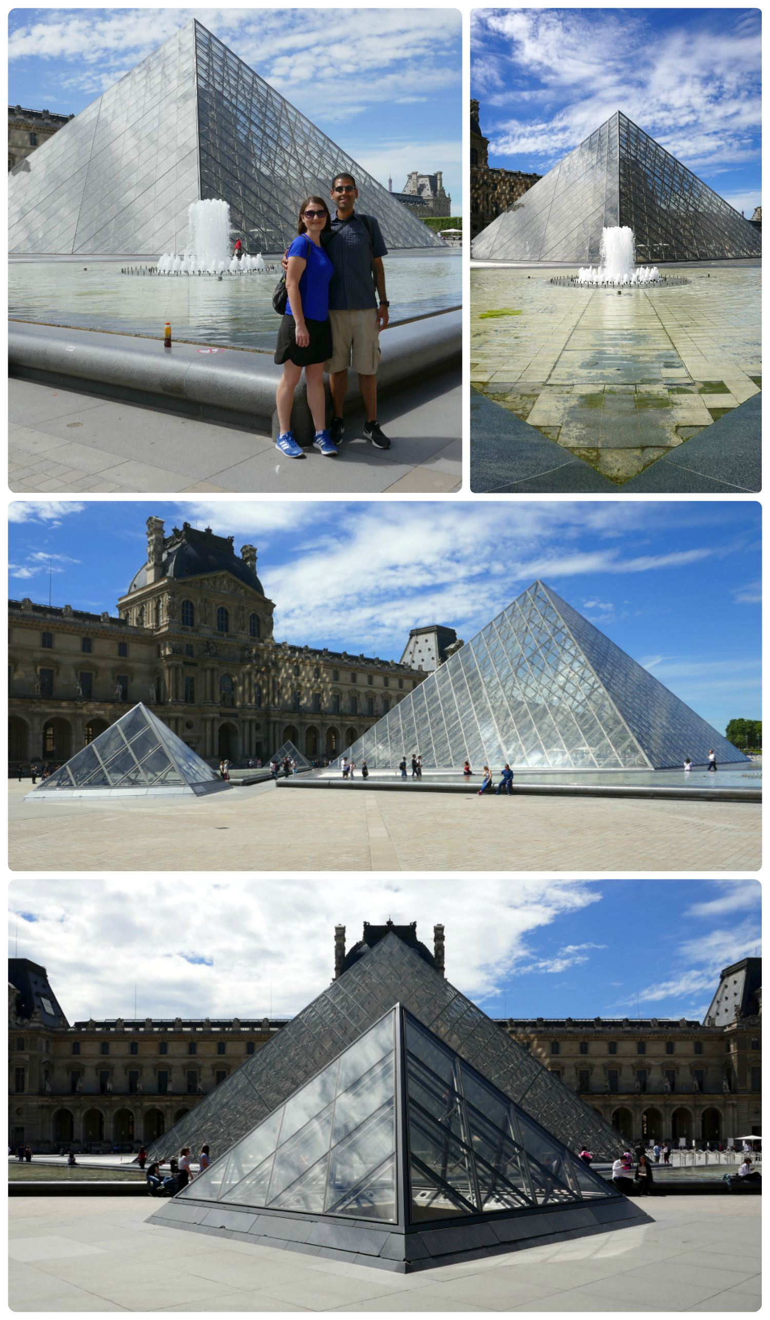 All images of the glass pyramids and fountains in the courtyard at the Louvre. The main entrance to the Louvre is inside the larger pyramid.