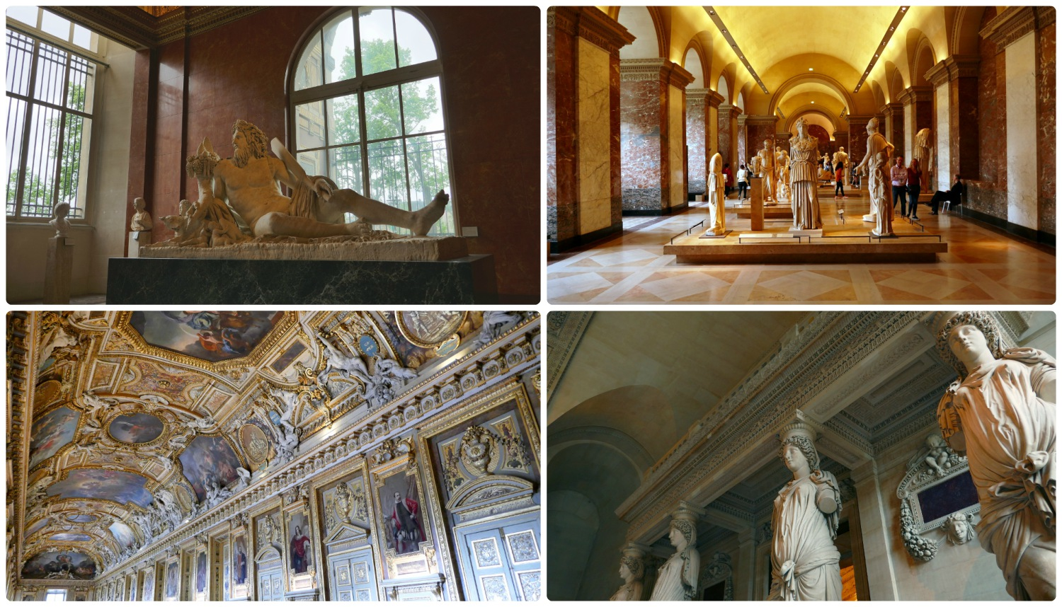 Greek sculptures in the Louvre and the Apollo Gallery (bottom left).