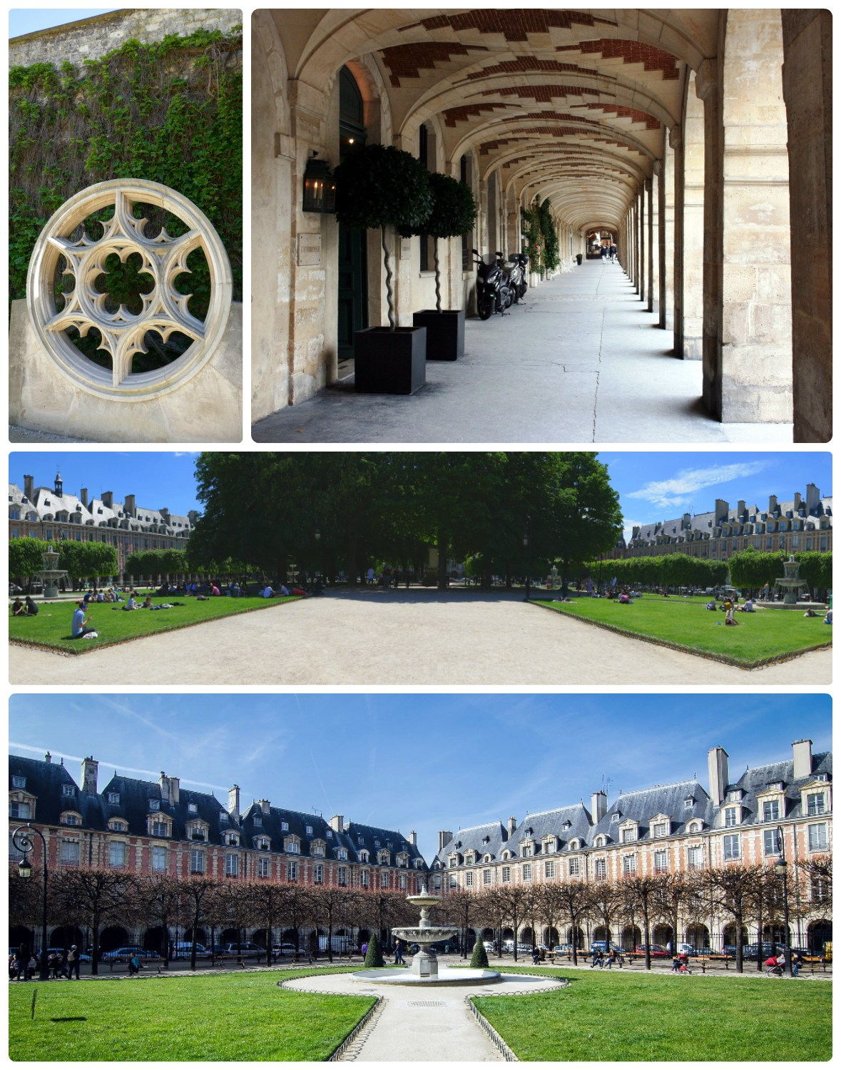 Clockwise (from the top): Around the corner from Place des Vosges we discovered the garden at Hotel de Sully, the archway between the garden and the homes surrounding the square, a panorama of the garden that shows the corner fountains and the row of trees that provide shade, the beautiful 17th and 18th century homes that surround the square.