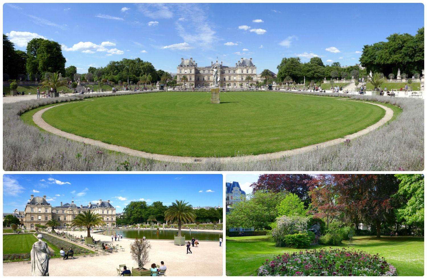 Clockwise (from the top): A panorama of the garden looking towards the palace, a sculpture in the garden is part of the greenery, the pond in the garden with the Luxembourg Palace in the background.