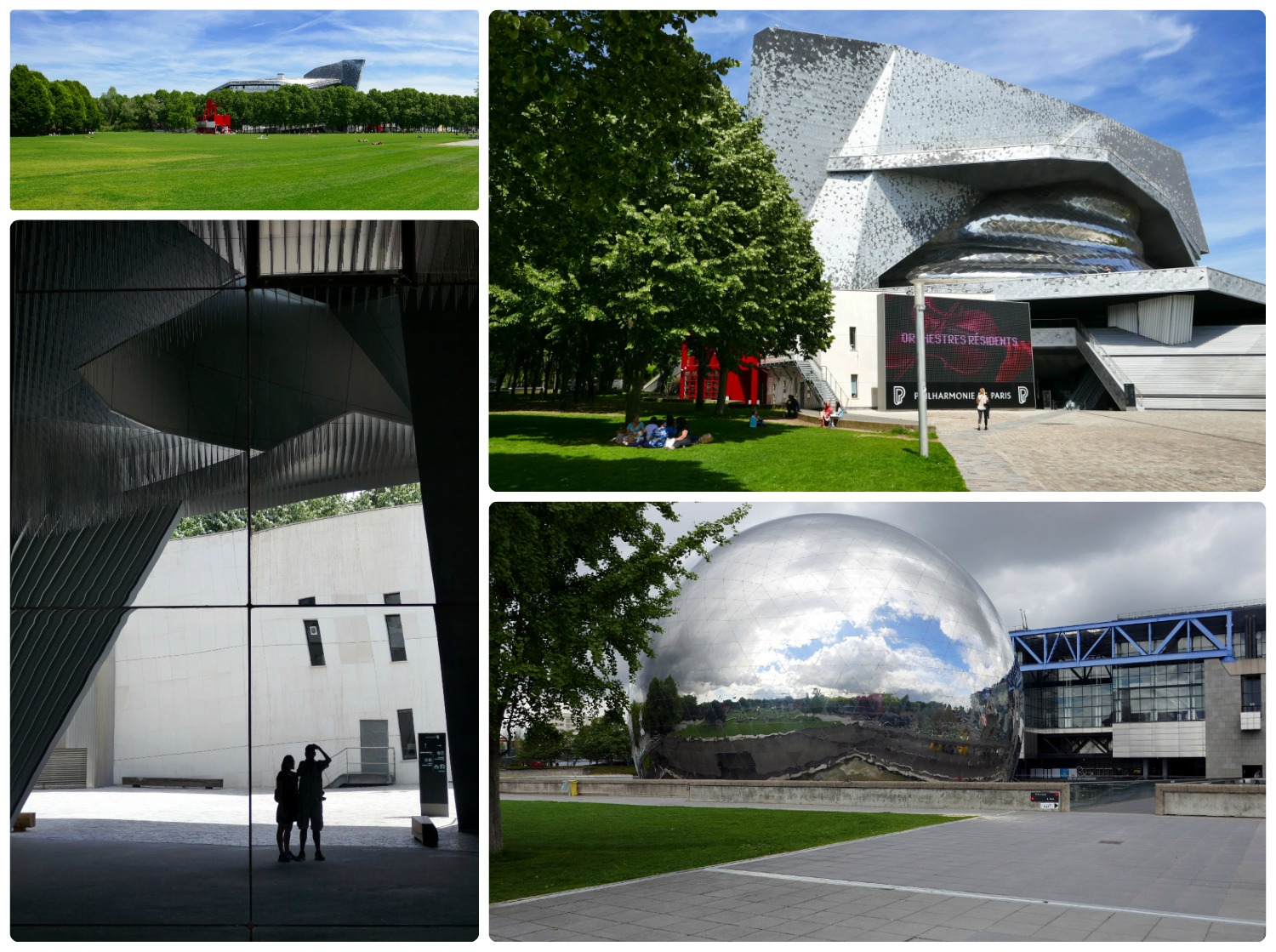 Clockwise (from the top): The large open grass area in the park, the Philharmonie de Paris that's in Parc de la Villette, La Géode - the mirrored sphere in front of the City of Science and Industry, our reflection in Philharmonie de Paris' mirrored exterior.
