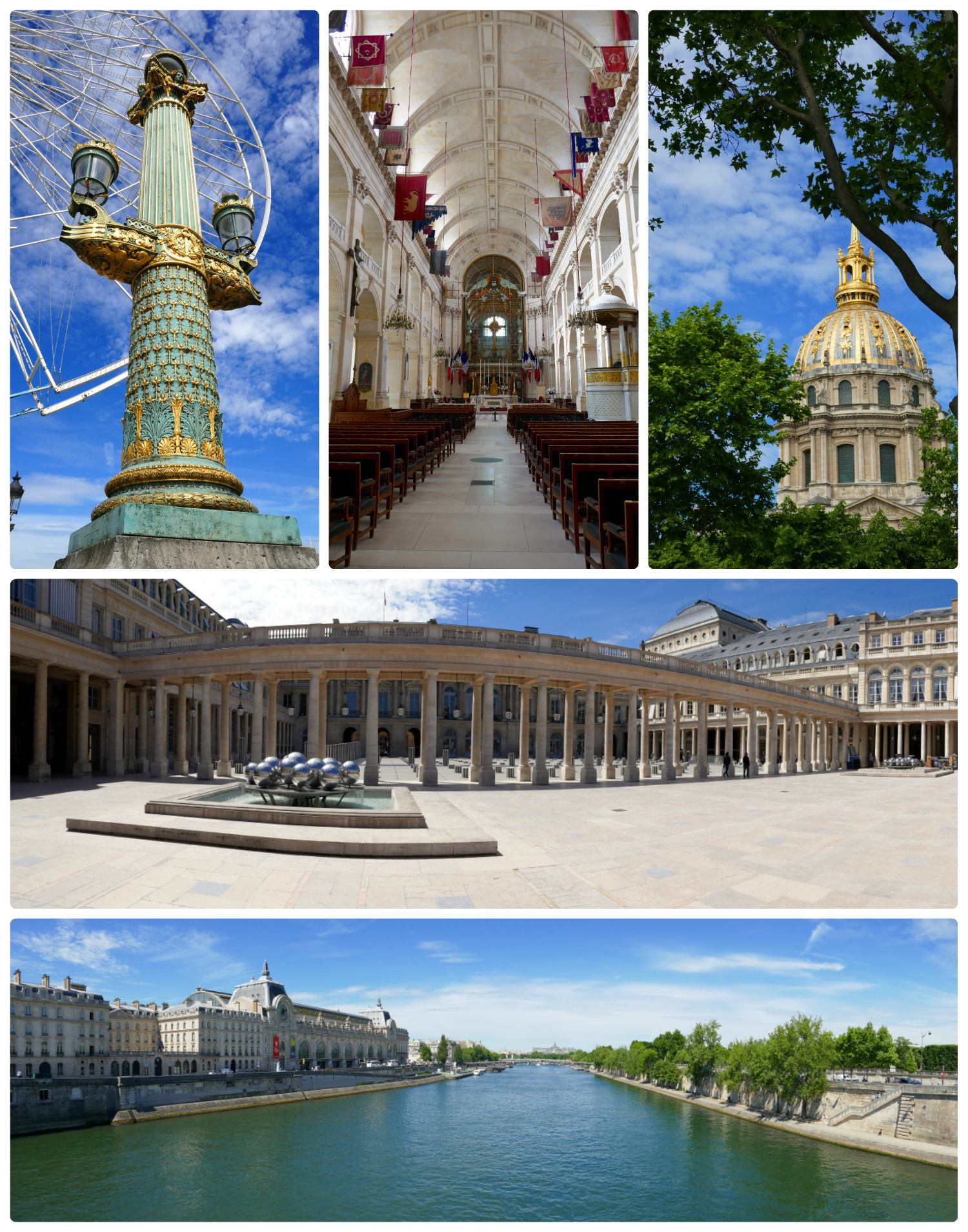 Clockwise (from the top): Paris is beautiful down to the street lamps - this was in Place de la Concorde (Concord Square), the chapel in the Palais National des Invalides, the dome on the Museum of Contemporary History, the courtyard of Le Palais Royal, view of Musée d'Orsay from the Pont Royal.