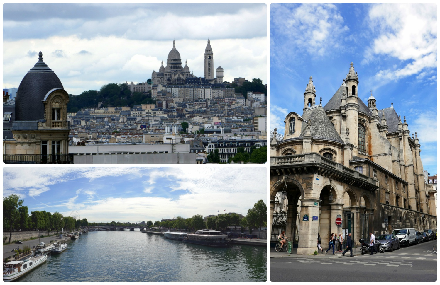 Clockwise (from the top): Paris skyline looking towards Sacré-Cœur (Basilica of the Sacred Heart of Paris), the Protestant Church of the Oratory of the Louvre, the view from view from Pont Alexandre III.