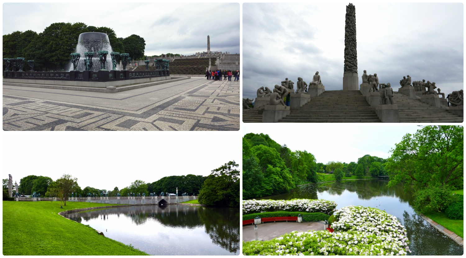 All images taken at The Vigeland Park. Clockwise (from the top): The stages of life fountain, the Monolith, looking towards the bridge that's lined with sculptures, taken from the bridge looking out over the pond.