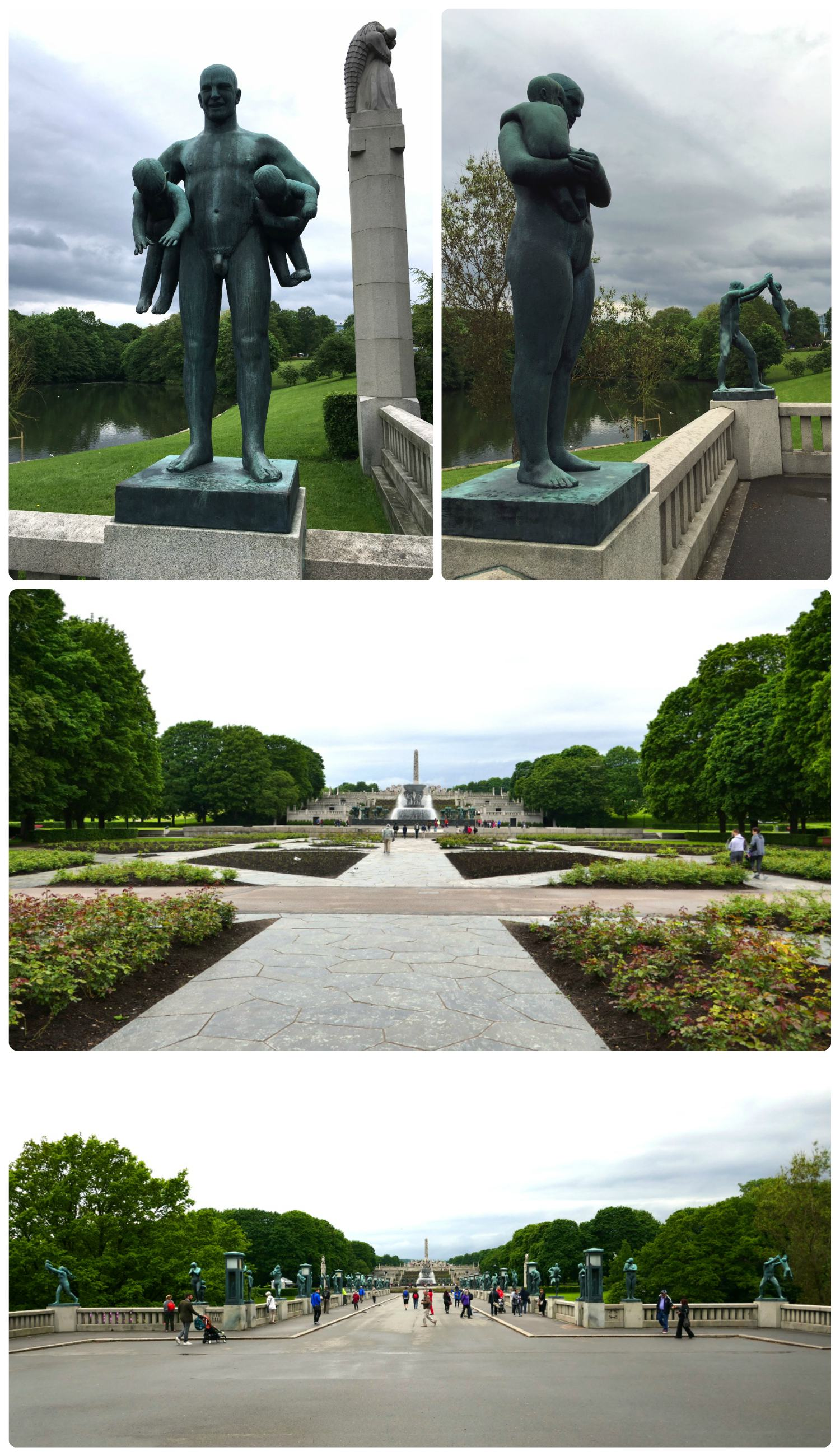 All images taken at The Vigeland Park. Clockwise (from the top): A sculpture of a man holding two babies, two sculptures located on the bridge in the park, after crossing the bridge the park opens to the fountain and the monolith, the view looking down the middle of the park - over the bridge with the fountain and monolith.