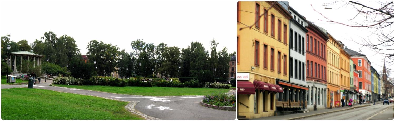 Left to right: Birkelunden Park, buildings lining the streets in Grünerløkka neighborhood.