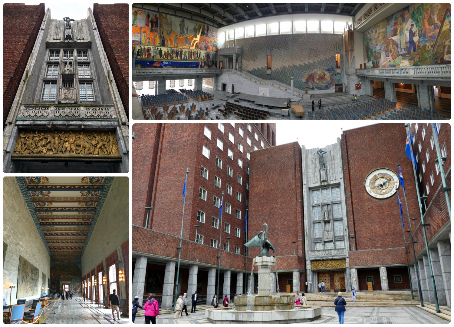 Clockwise (top to bottom): Looking up at the exterior of theOslo City Hall from the entrance doors, panoramic of the Nobel Peace Price Ceremony room, the front of City Hall, each room in City Hall is detailed with art from the walls to the ceiling.