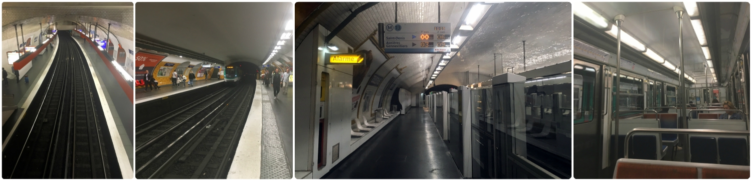 All images taken in metro stations. The last image on the right is inside a metro car.