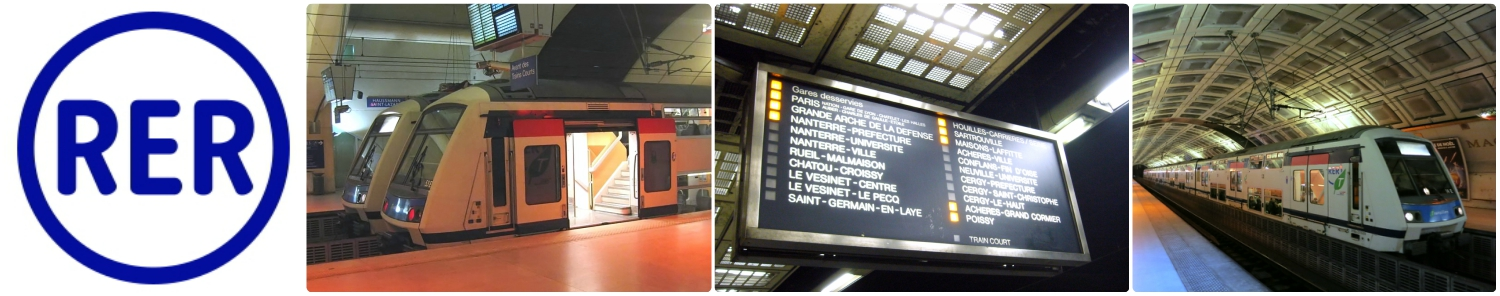 Left to right: The RER logo - look for it when looking for stations, most of the RER trains we were on had an upper and a lower deck, the sign indicating which stops the next train will be making (the ones that have the square lit next to the stop are the ones the train will stop at), an RER train and station.