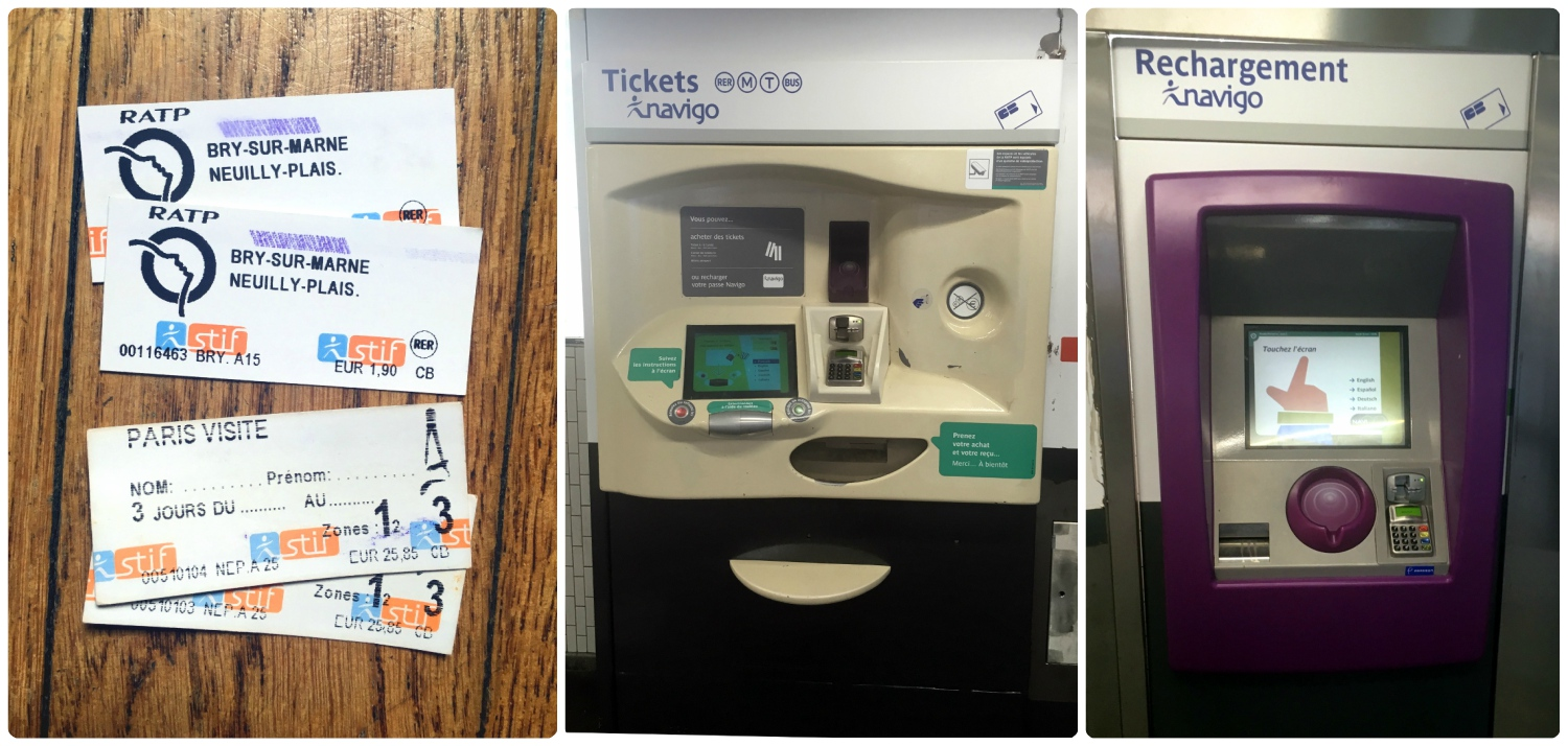 Left : The two tickets on top are single tickets and the tickets on the bottom are Paris Visite 3-day tickets for zones 1-3.  Middle : This is the machine we purchased our tickets from. Notice that below the screen is a metal bar that you can roll back and forth. Use the bar to scroll through options on the screen.  Right : Another ticket machine used to reload cards.