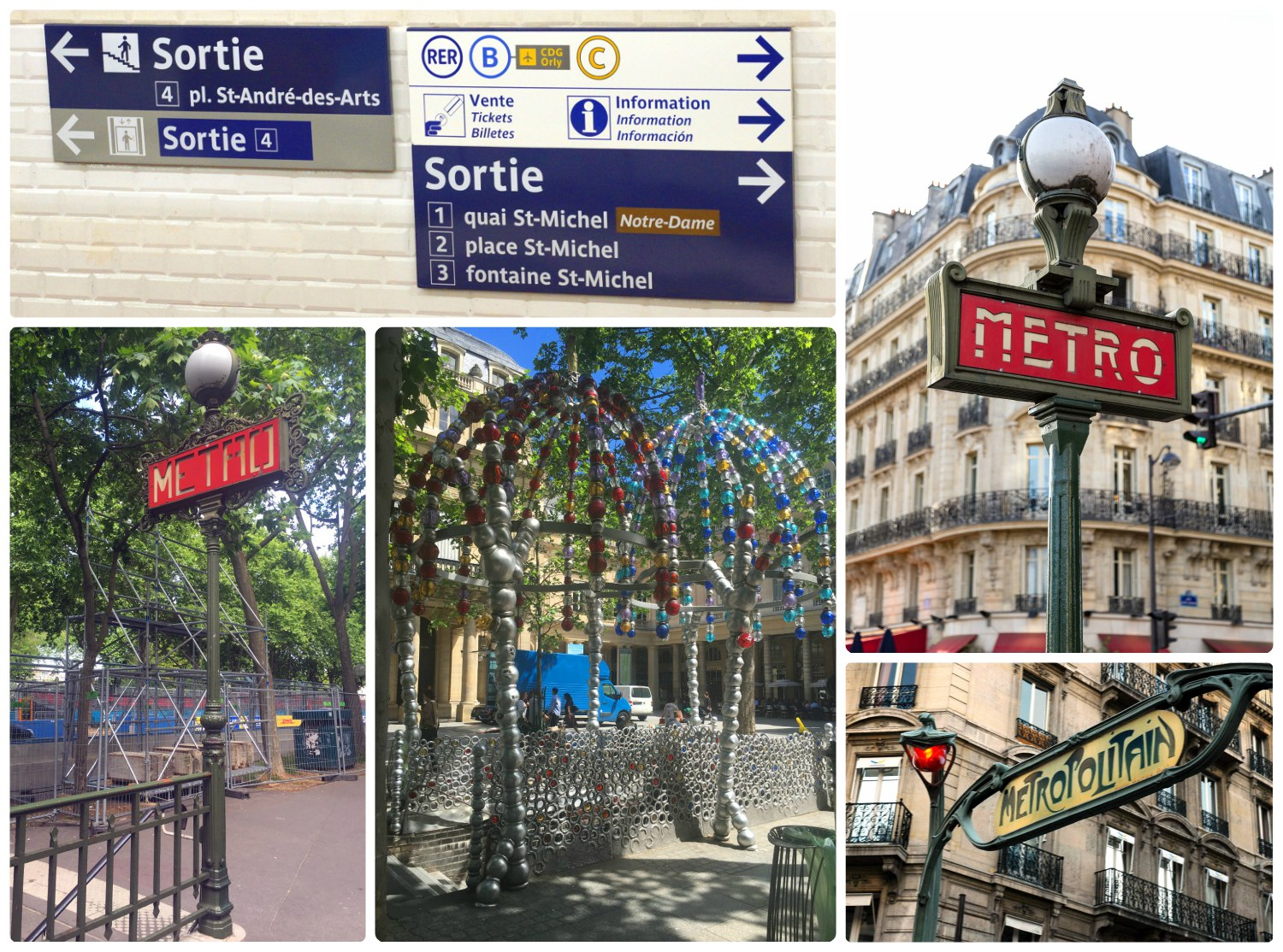 Top Left: Find the exit from the metro station by looking for the signs that say 'Sortie' (French for 'Exit'). The rest of the images are signs and entrances for metro stations across Paris.
