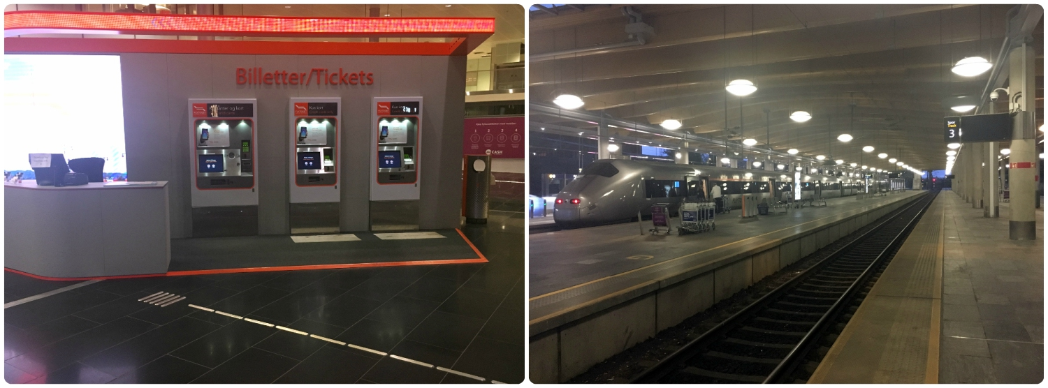 Left to right: Flytoget Airport Express ticket machines, the Flytoget Airport Express train.