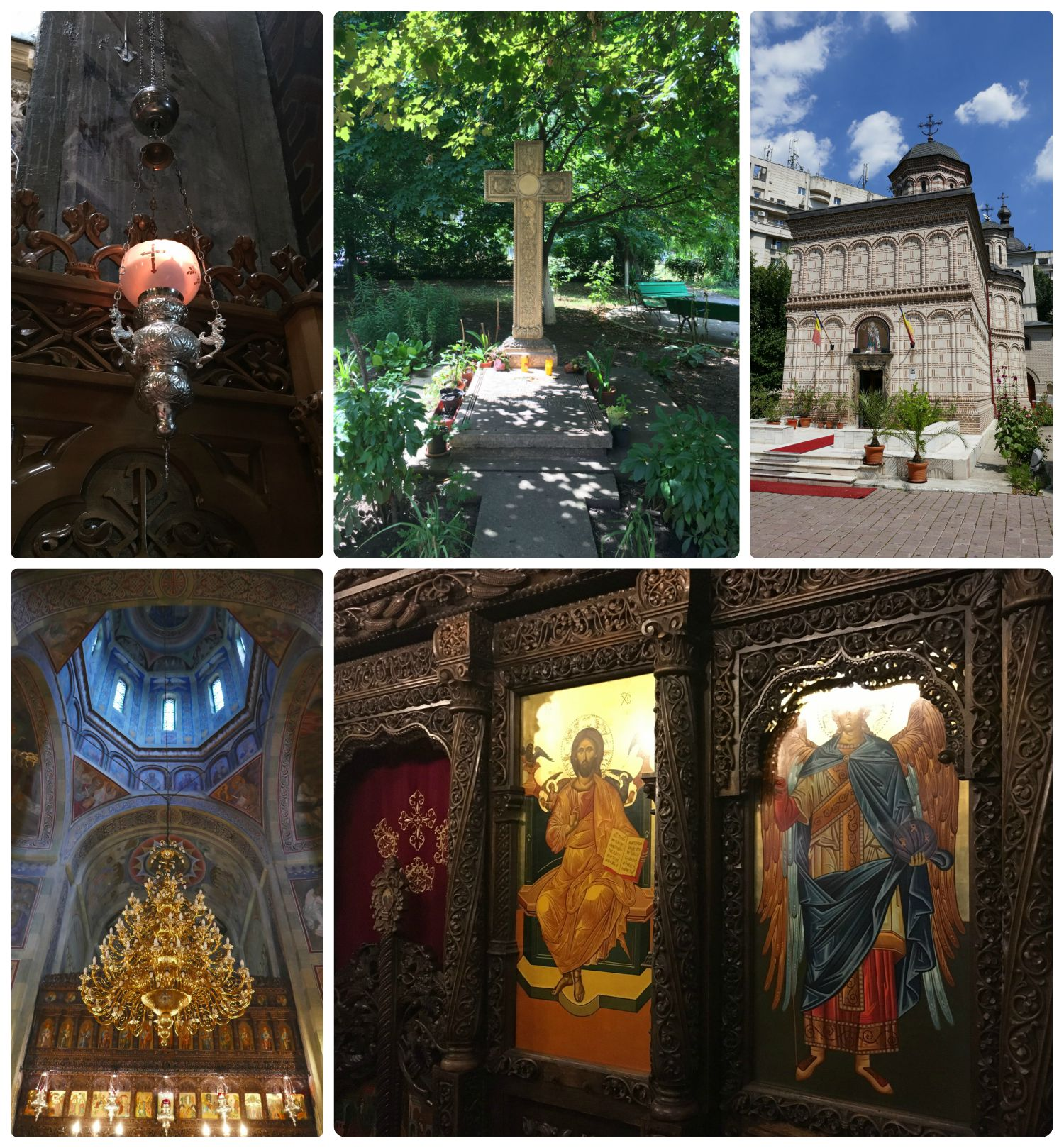 All images are of the Mihai Voda Monastery. Clockwise (from the top): Lamps like these can be seen in many of the monasteries in Bucharest, under a tree in the garden was a cross, the exterior of Mihai Voda Monastery, the wood work inside the monastery was amazing in its detail, the chandelier hanging from the dome was breathtaking.