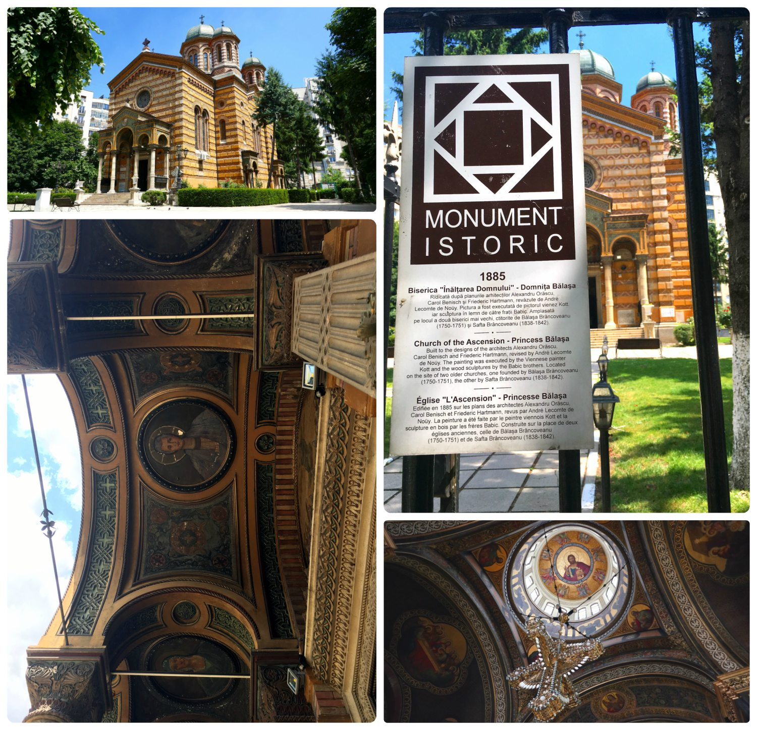 The gardens and the exterior of the Lady Balasa Church are beautiful, and the interior is stunning. When visiting Bucharest, you'll likely notice 'Monument Istoric' signs posted on historical landmarks throughout the city that give a brief historical description of the site.