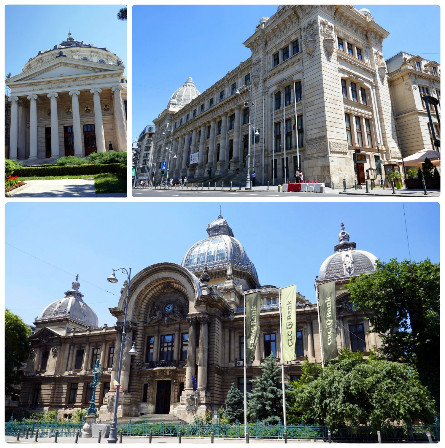 Clockwise (from the top): The exterior of the Romanian Athenaeum, The National History Museum is a huge building that takes up most of the block, the Palace of the Savings Bank is a building with such beautiful architecture that it's hard to believe it's a bank.