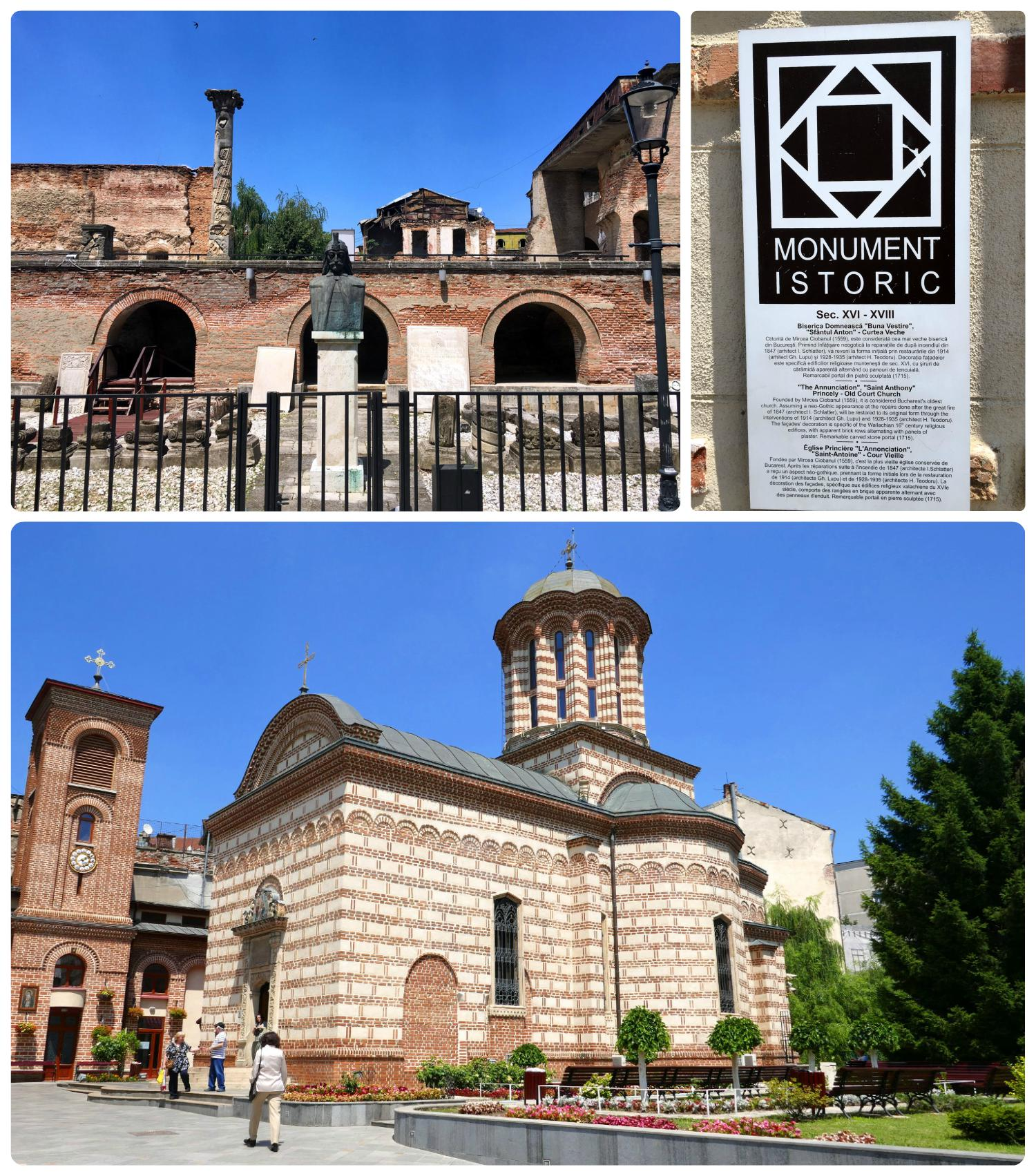 The history of Old Princely Court is fascinating! While you're visiting, be sure to walk just a short distance down the street to visit the beautiful Sfântul Anton Church. Don't miss the 'Monument Istoric' signs that provide an overview on the history of the site.