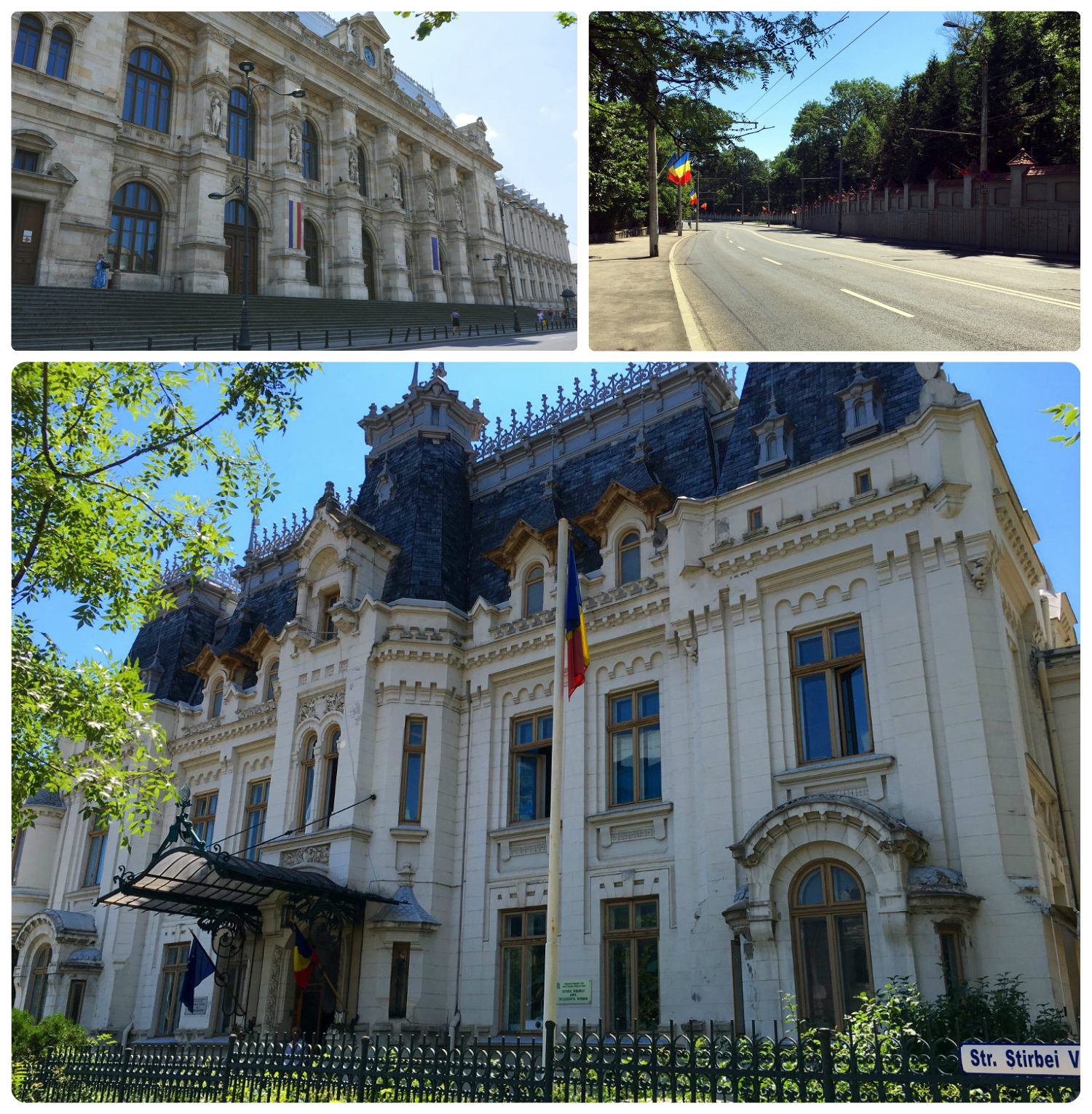 Clockwise (from the top): The exterior of the Palace of Justice, the street in front of Cotroceni Palace is lined with Romanian flags, the front of Cretulescu Palace.