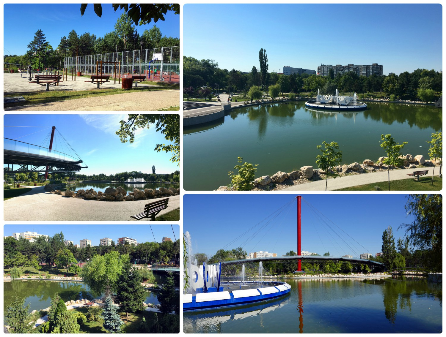 Tineretului Park has something for everyone. Clockwise (from the top): The workout area and basketball courts in the park, the lake in the center of the park with a contemporary fountain, over the center of the lake is a large arched pedestrian bridge, there are plenty of areas in the park that are covered from the sun by the shade of trees, while visiting be sure to take a stroll around the lake or take a break on one of the many benches.