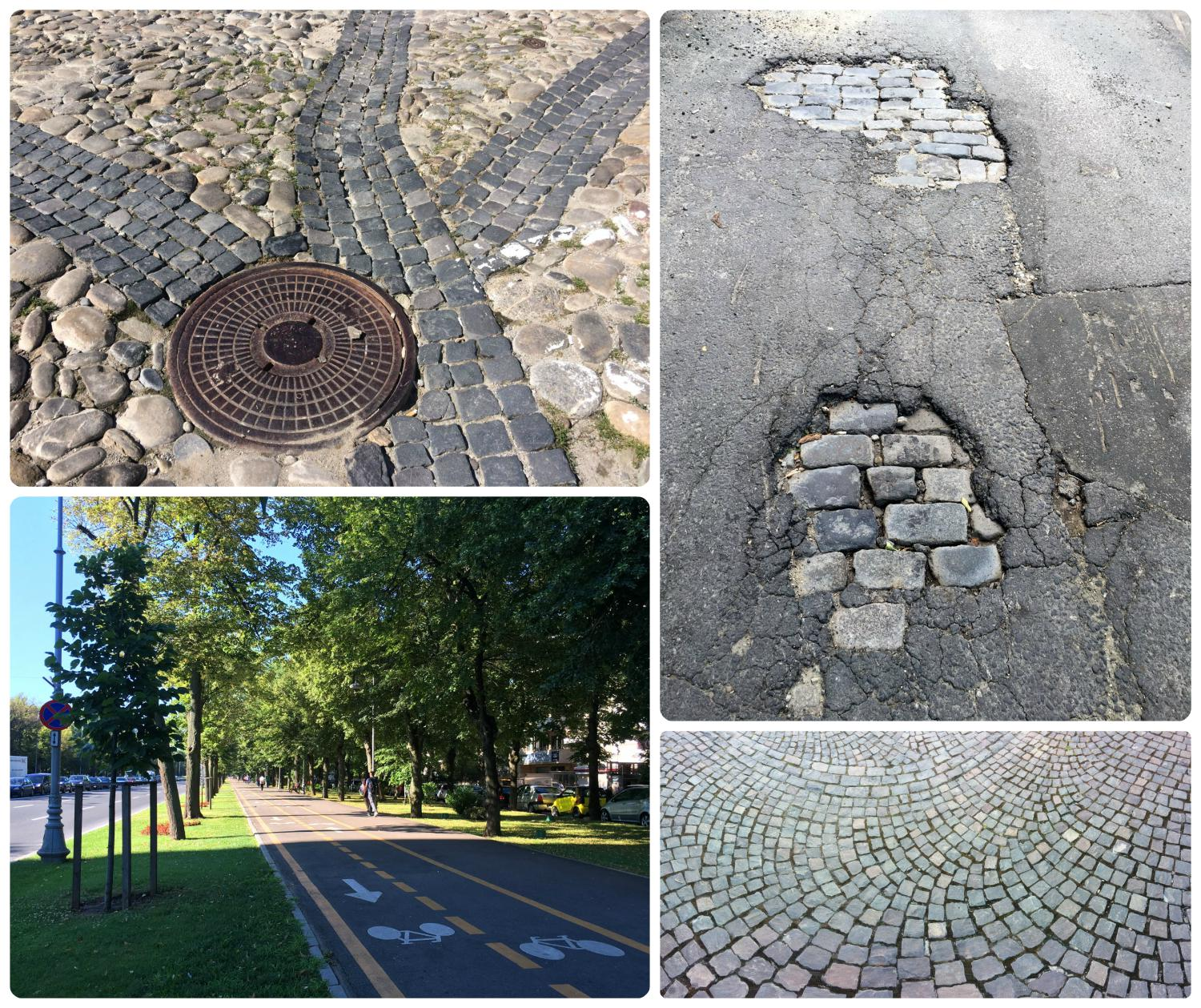 Conditions of streets, walkways, and paths vary greatly throughout the city. The streets and walkways we came across ran the gamut from cobblestone, narrow walkways, and wide two-lane paths.