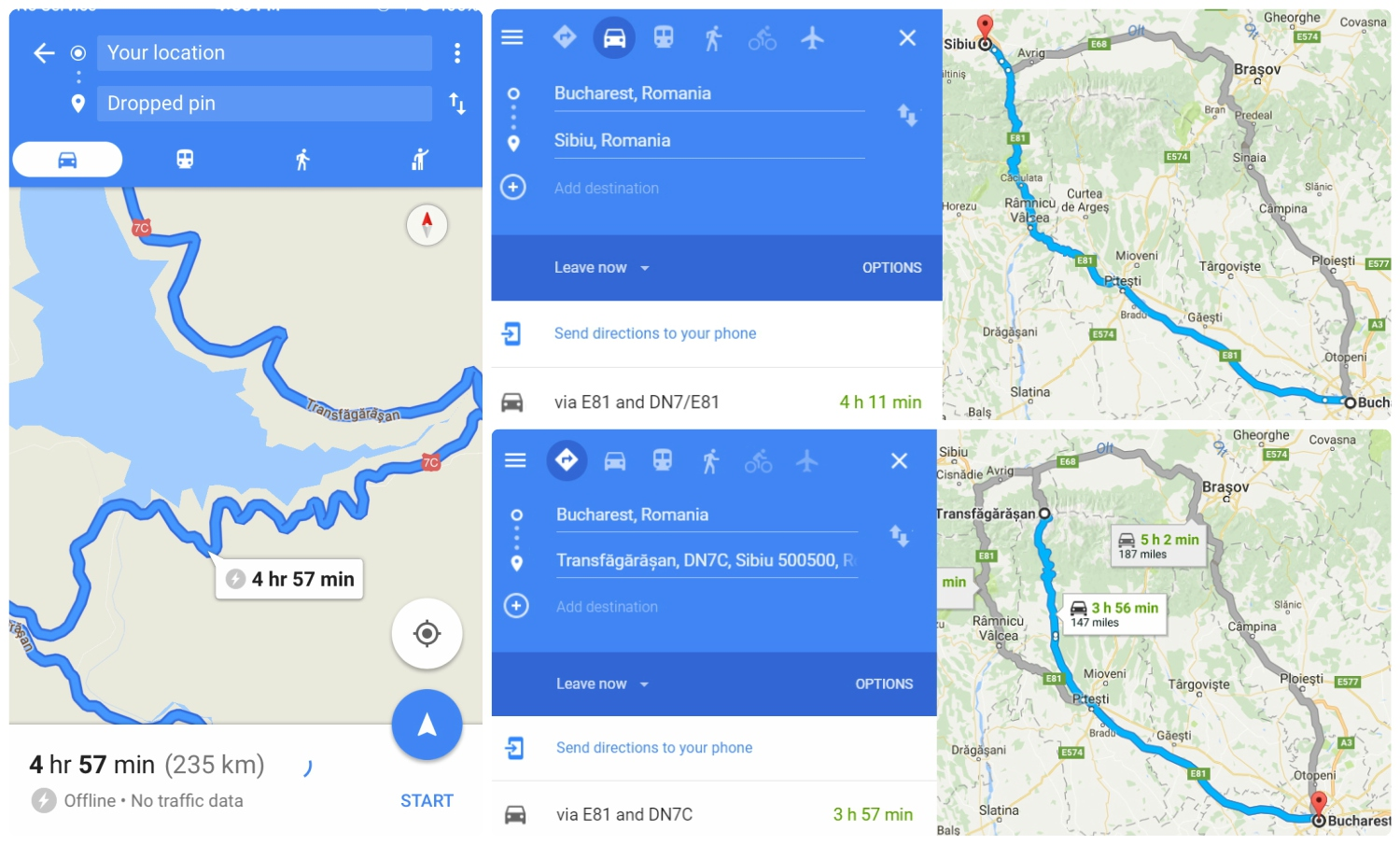 Left : Screen shot from our phone of the directions we got by dropping pins on the Transfagarasan Highway as we drove.  Top/Right : The map given when looking up directions to Sibiu, notice that the Transfagarasan Highway isn't a route option.  Bottom/Right : The map given when we entered the destination as 'Transfăgărășan, DN7C, Sibiu 500500, Romania', which will give a route option on the highway.
