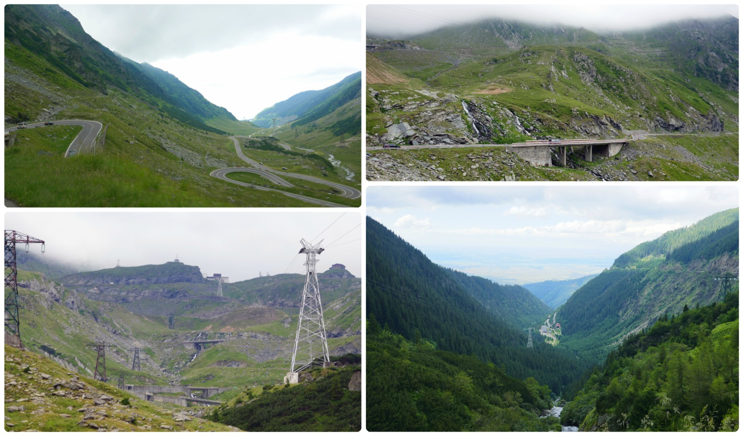 Clockwise (from the top): A view of the switchbacks down the mountain on the Transfagarasan Highway, the bridges and waterfalls as we drove down the mountain, a view of the valley and the town at the bottom of the mountains, a view from the bottom looking up the mountains.