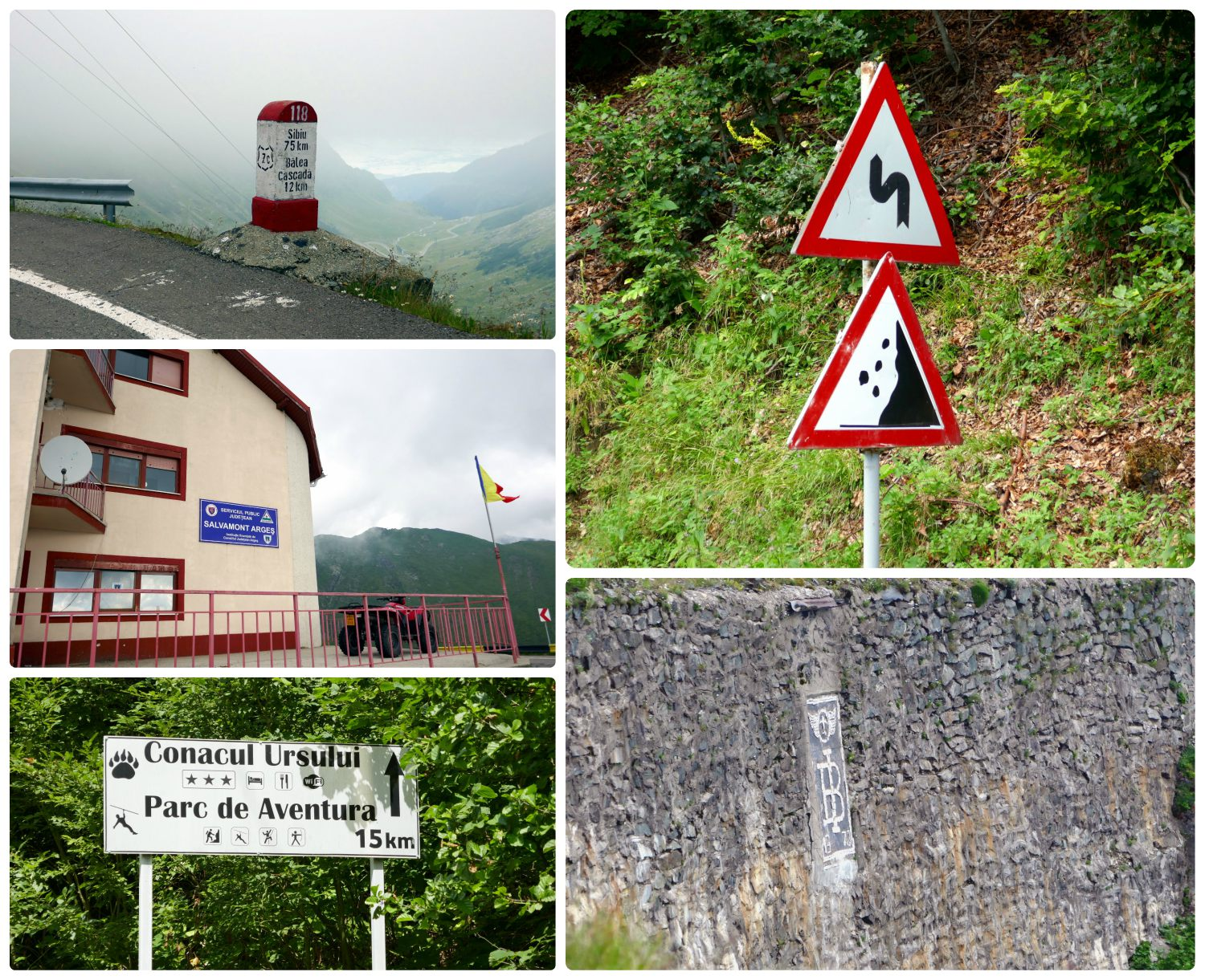 Clockwise (from the top): Small concrete signs are posted along the Transfagarasan Highway to indicate the distance to the next town, it's no surprise to see signs for falling rocks and dangerous turns, a commemoration in the stone wall of the 1973 completion of the Transfagarasan Highway, a sign along the drive showing activities that are available in the area, near the top of the mountain is a rescue center.