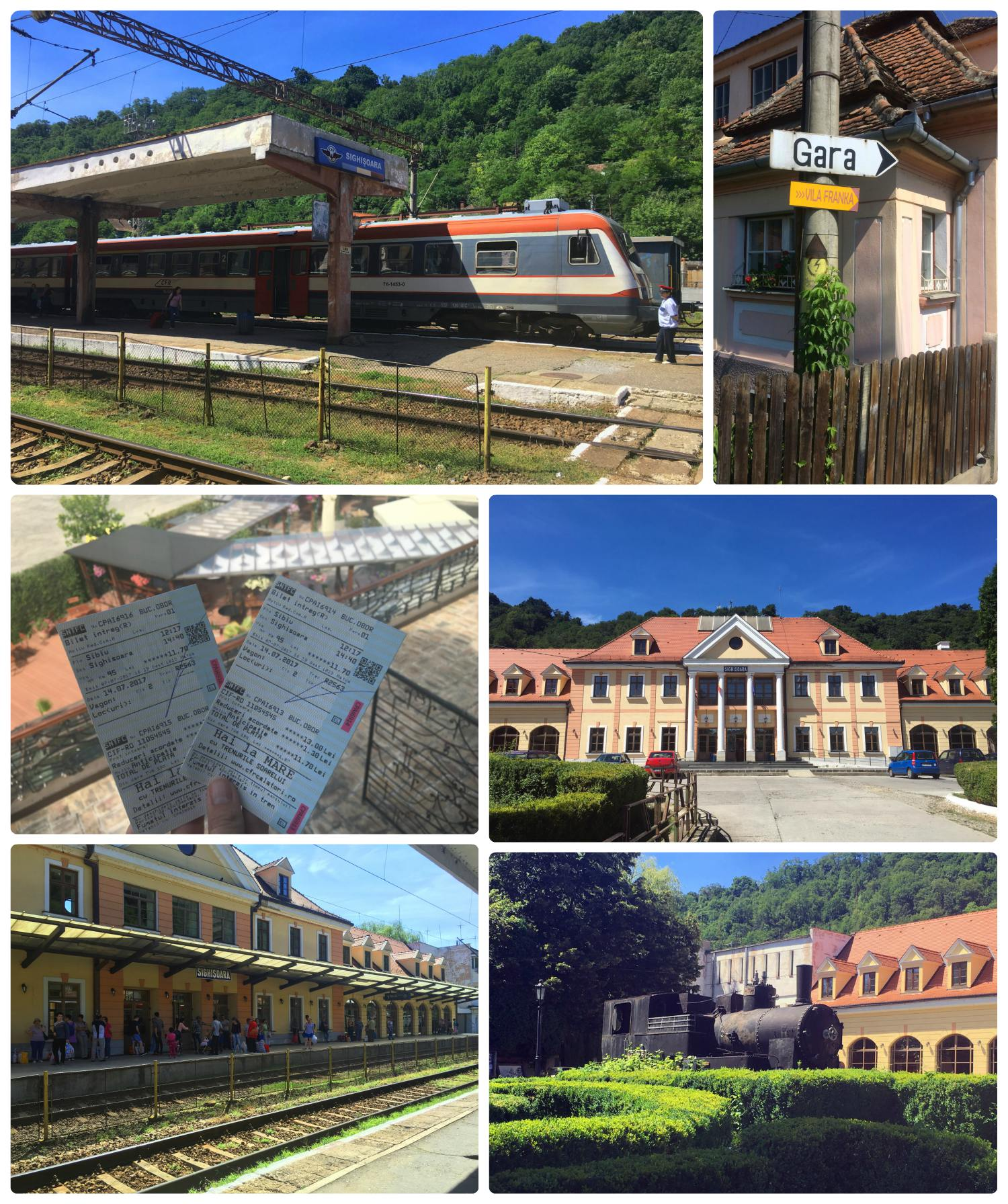 We've gotten used to traveling by train and often prefer it, so it's no surprise that we traveled through Transylvania, Romania by train! Clockwise (from the top): The train we took to Sighisoara, 'Gara' means train in Romanian, the front of the Sighisoara train station, an old train on display in front of the station, the back of the train station where people were waiting for the next train, our train tickets.