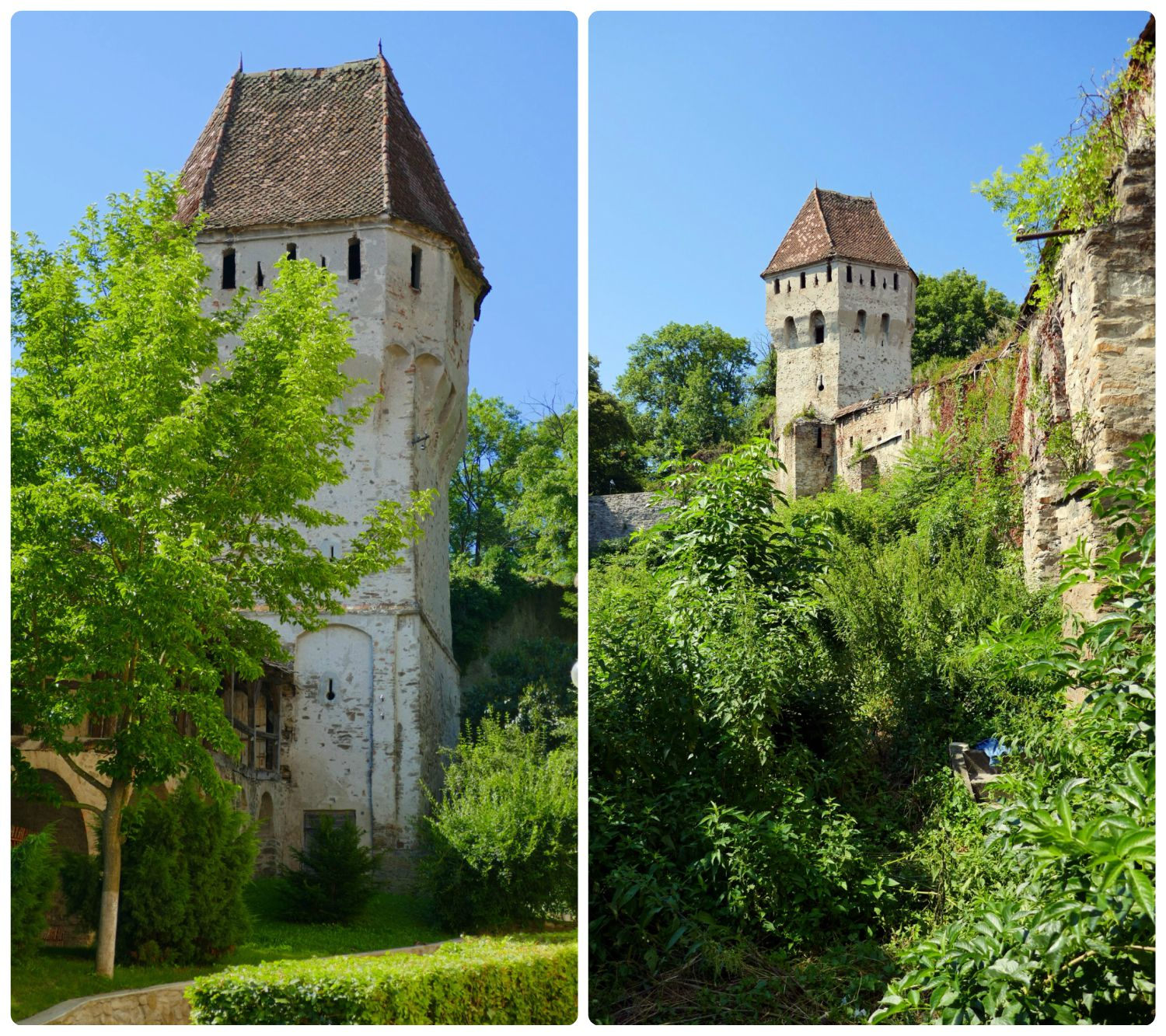 The Tinsmiths' Tower from both the exterior and interior of Sighisoara Citadel walls.
