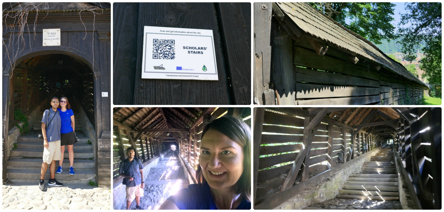 The Scholars' Stairs in Sighisoara were enchanting! While in the Citadel, don't miss the signs posted on tourist sites that have a QR code that you can scan with your phone.