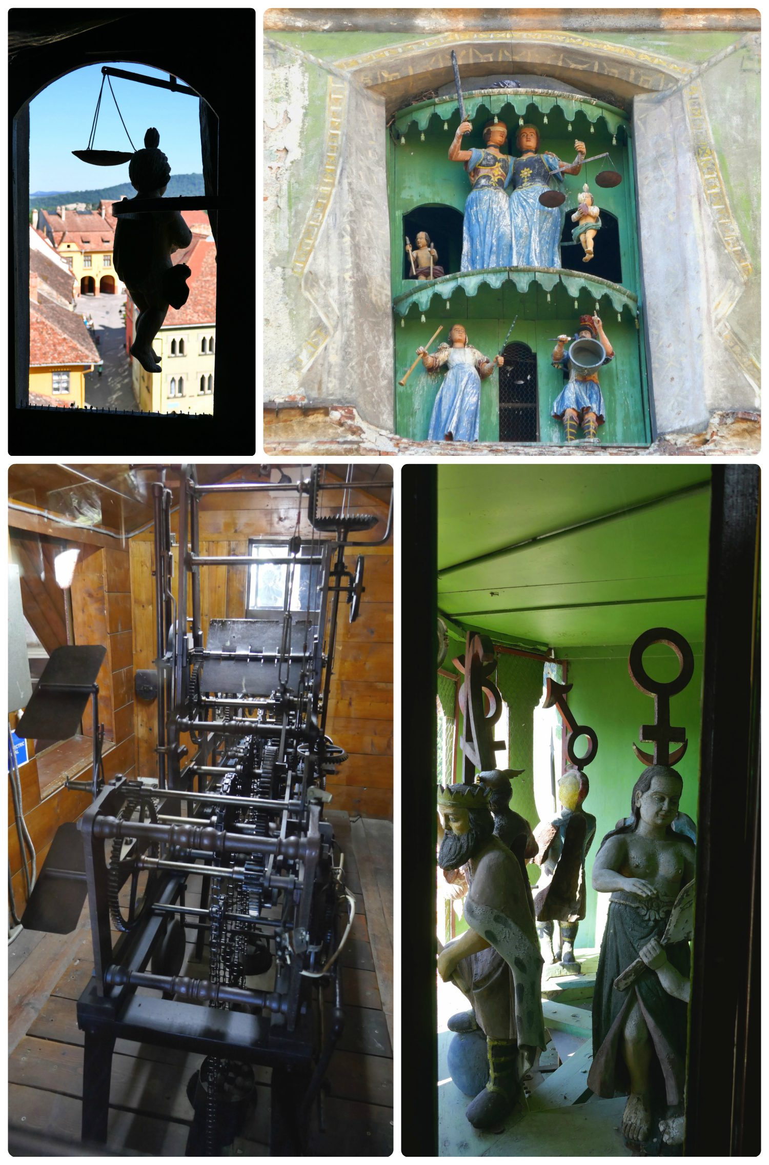 The figurines of the Clock Tower are fantastic to view from the cobble stone streets of Sighisoara, but even more amazing to see from inside the tower. We were able to see the inside workings of the clock from a large window, and the figurines through smaller windows.