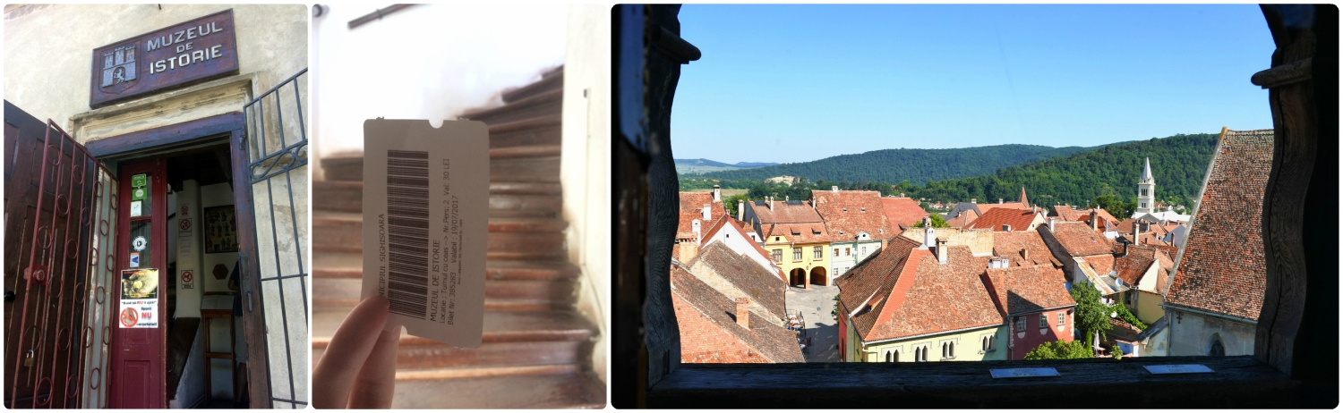 Left to right: The entrance to the Clock Tower and museum, our ticket to get into the Clock Tower, the amazing view from the outlook terrace.