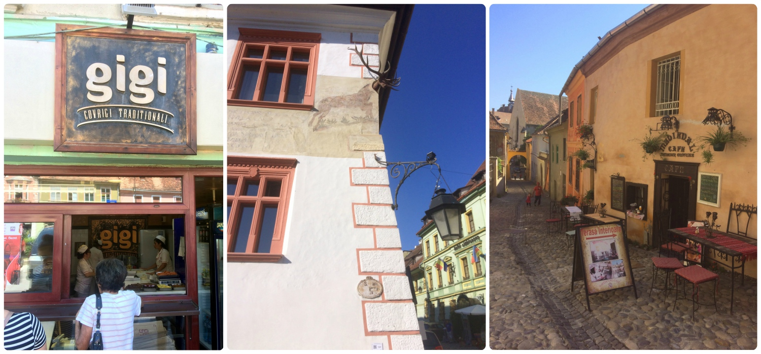 Left to right: Gigi is a popular bakery and had a long, but fast moving line, Casa cu Cerb is in Citadel Square and easy to spot if you look for the mounted antlers on the exterior of the building, a charming cafe we passed in the Citadel.