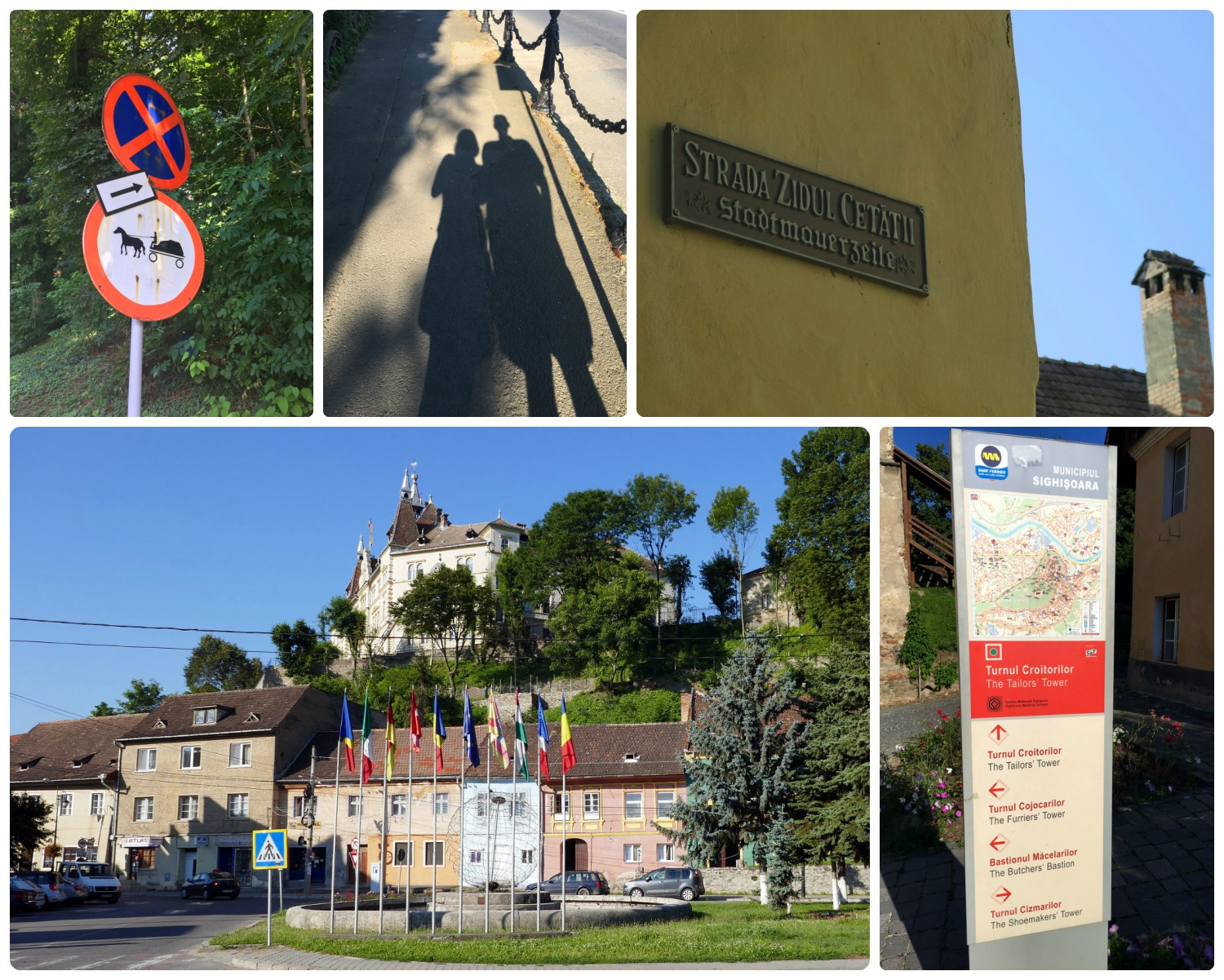 Sighisoara is the perfect town to explore by foot! Clockwise (from the top): How often do you get to see a street sign warning drivers of horse drawn carriages?!, you can't see it but there's a high probability that Sergio is rolling his eyes as Shannon takes  another  picture of our shadows while saying 'but it's so romantic!', even the street signs in the citadel look like they're from a fairy tale, throughout Sighisoara are signs with maps and arrows to point you in the correct direction, taken from the bottom of the hill and looking up to the Citadel.